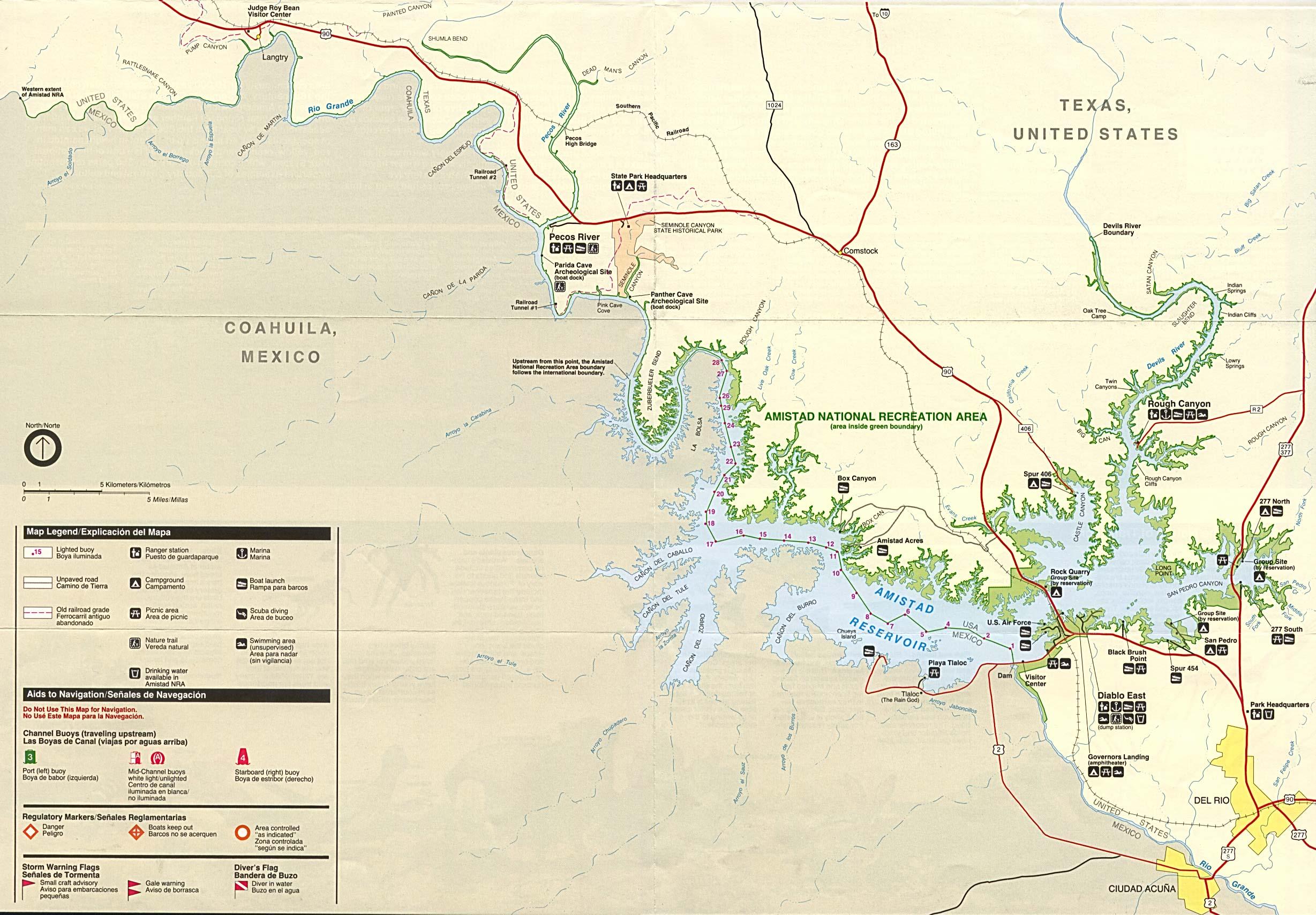 Mapa del Parque del Área Nacional de Recreación de la Presa de la Amistad, Texas, Estados Unidos
