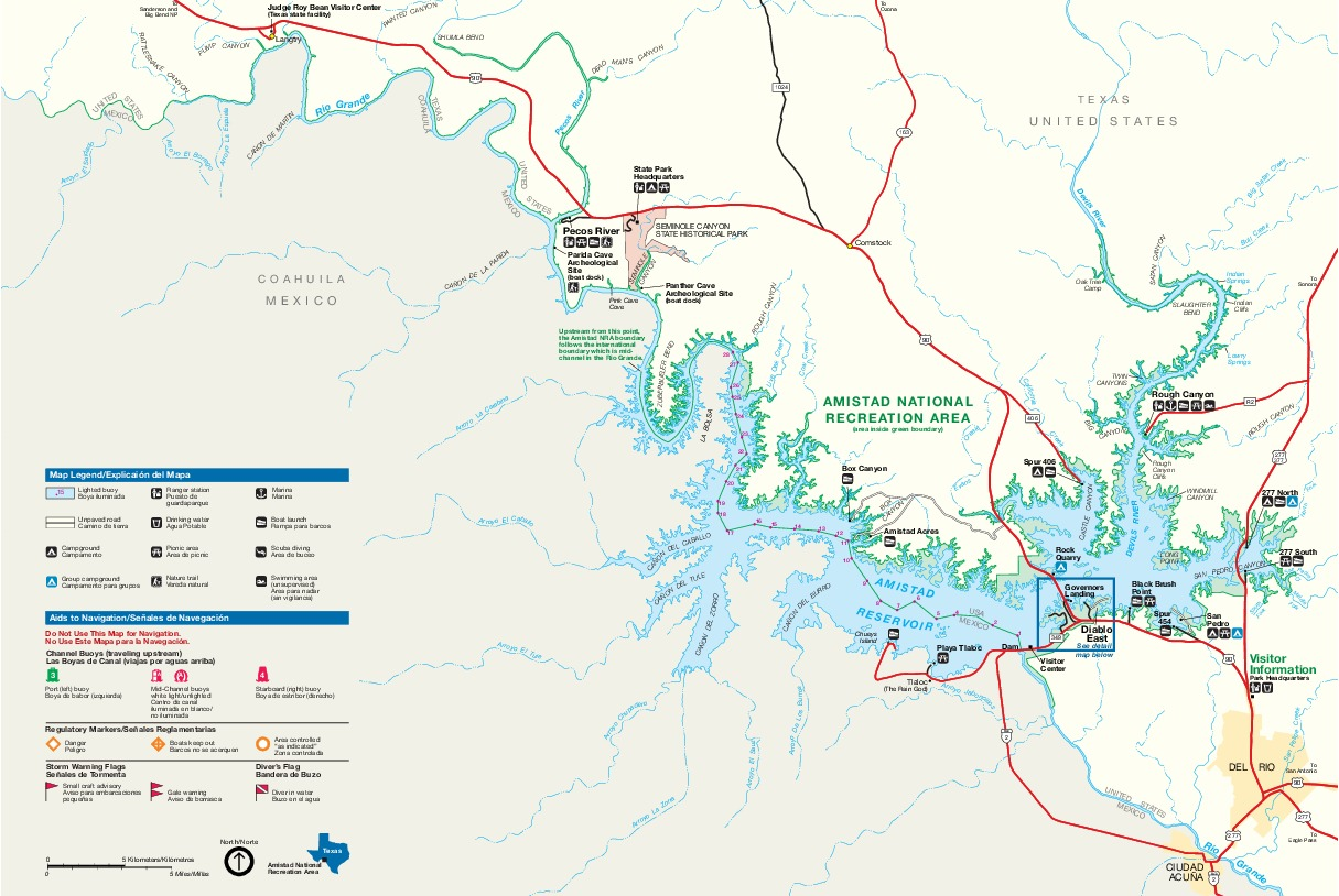 Amistad National Recreation Area Park Map, Texas, United States