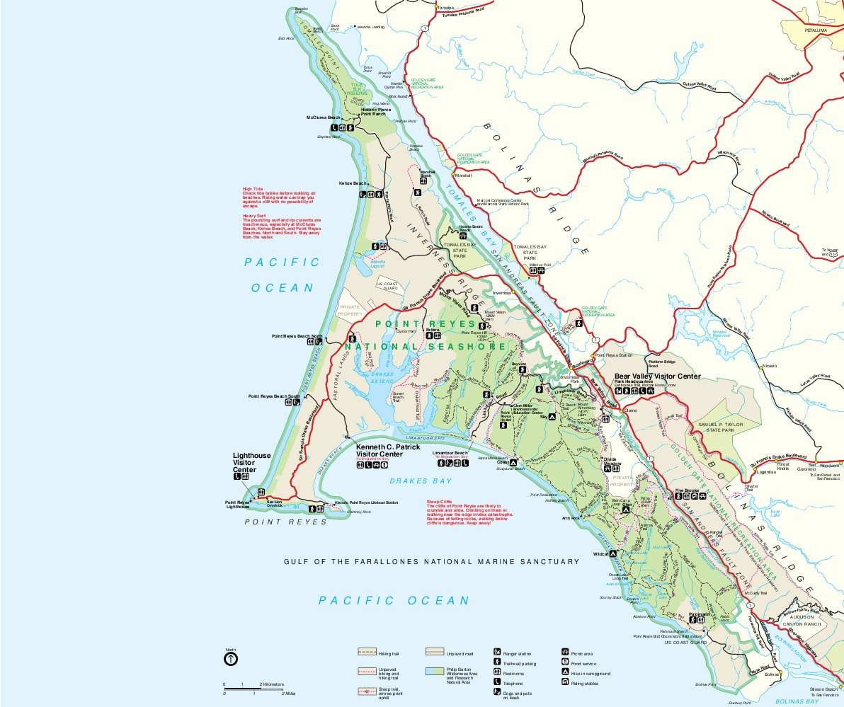 Point Reyes National Seashore Park Map, California, United States