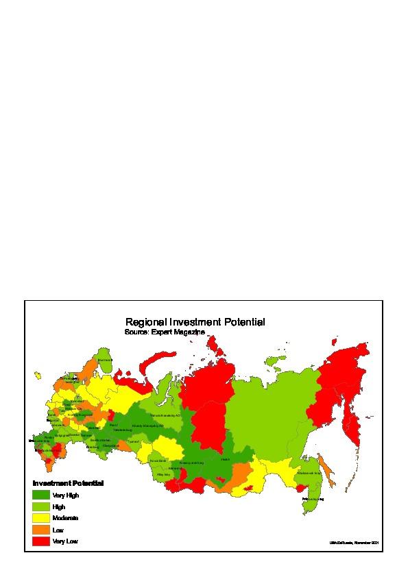 Mapa del Potencial de Inversiones Regional en Rusia