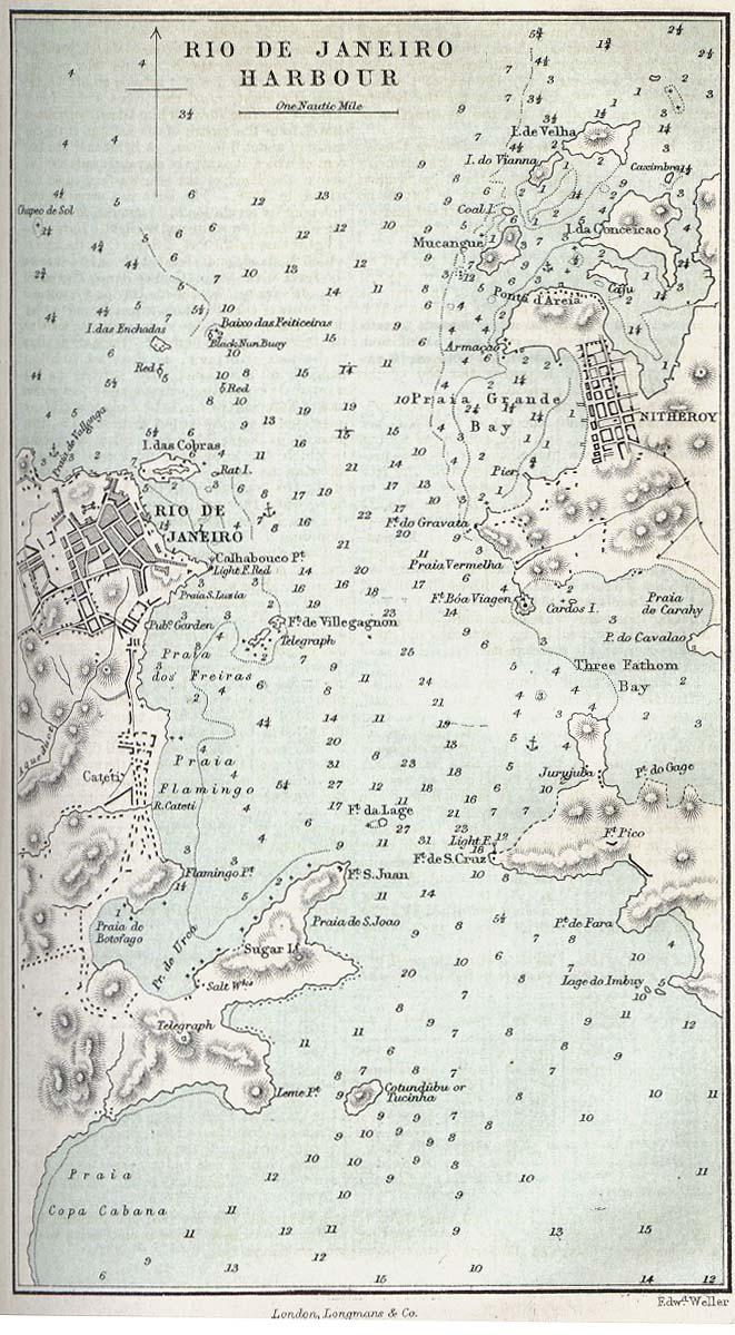 Rio De Janeiro Harbour Map, Brazil 1882