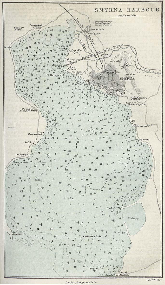 Izmir (Smyrna) Harbour Map, Turkey 1882