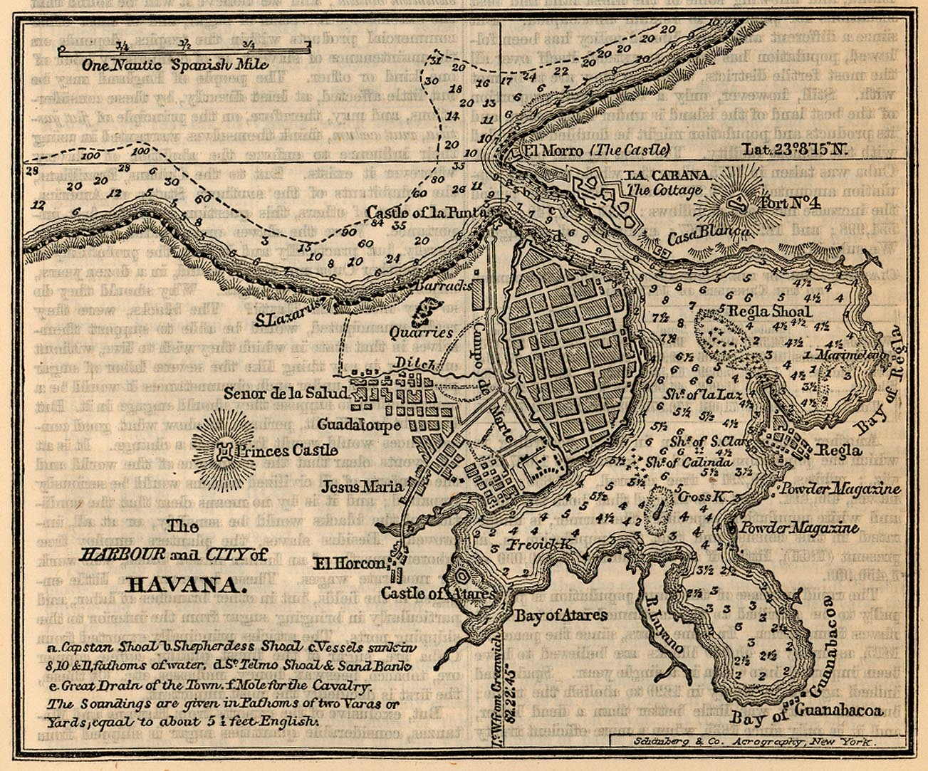 Havana Harbour and City Map, Cuba 1858