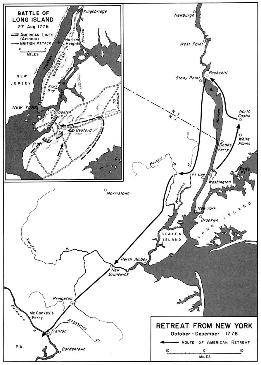 Mapa del Retiro de Nueva York Octubre - Diciembre 1776, Guerra de la Independencia