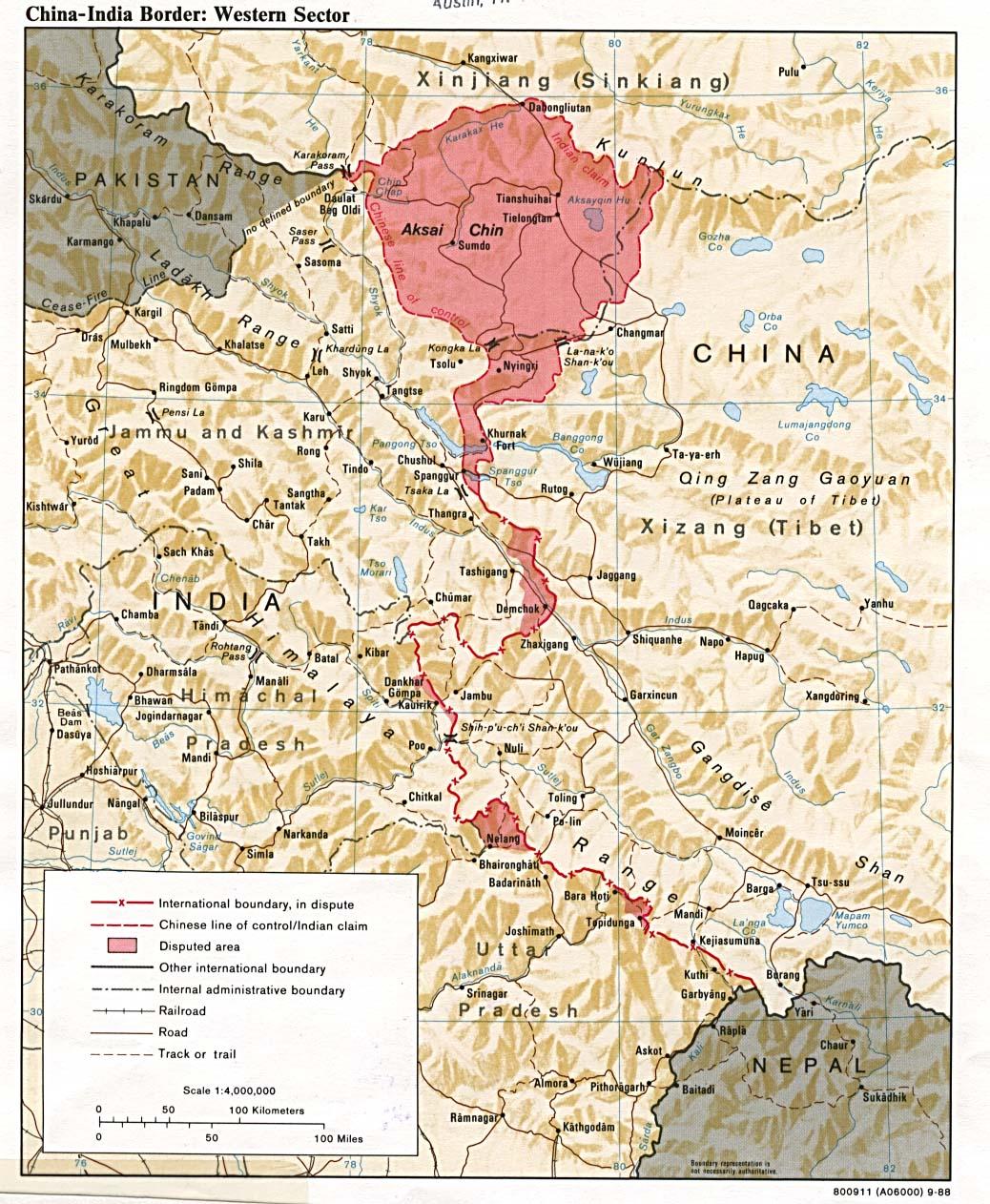 Mapa del Sector Occidental de la Frontera China-India