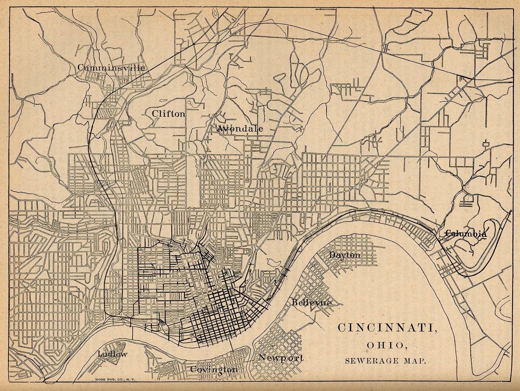 Sewage System Map, Cincinnati, Ohio, United States 1880