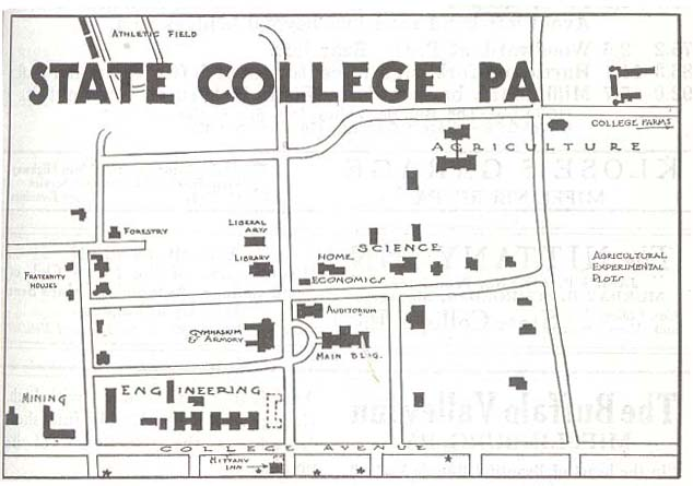 State College Map, Pennsylvania, United States 1920
