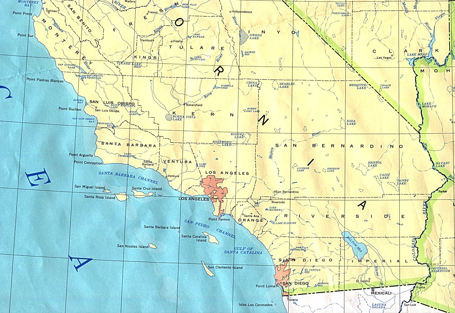 Southern California State Map, United States