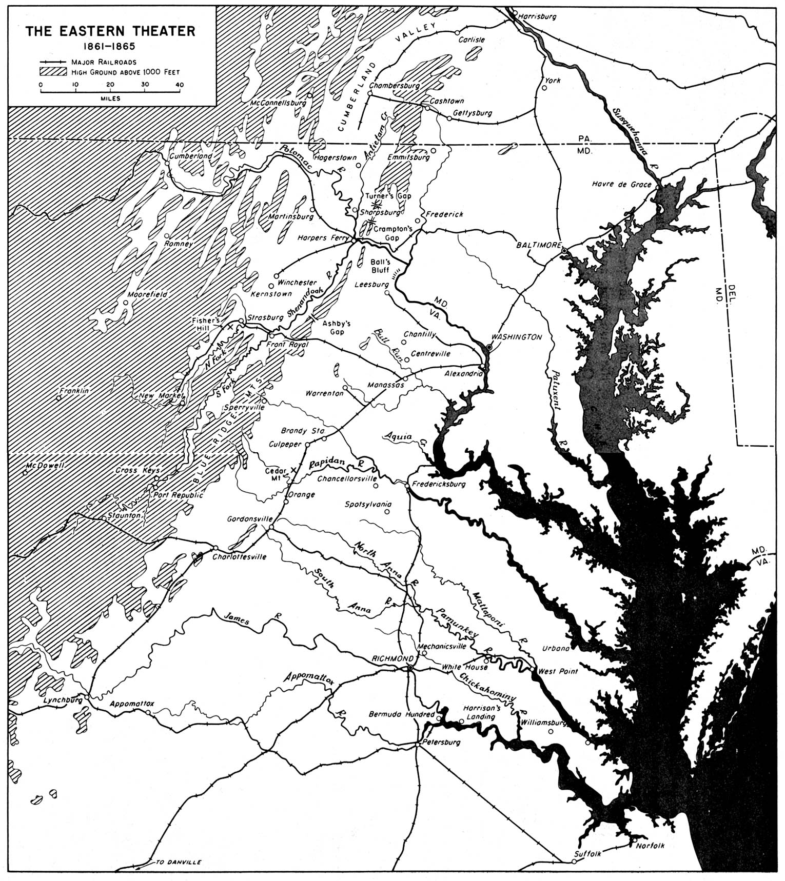 Map of the Eastern Theater, American Civil War  1861 - 1865