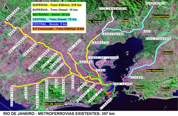 Mapa del Transporte Publico, Region Metropòlitana de Rio de Janeiro