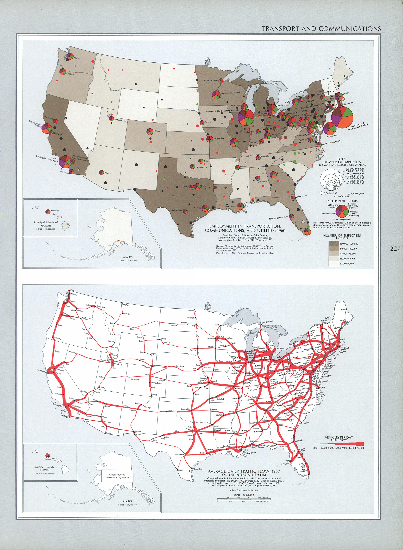 Mapa del Transporte y Comunicación en Estados Unidos