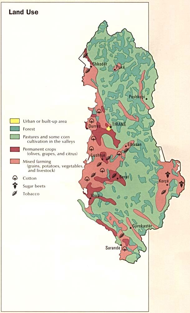 Mapa del Uso de la Tierra de Albania