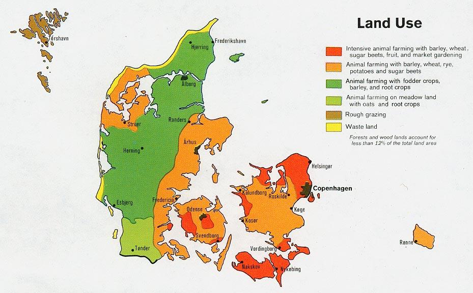 Mapa del Uso de la Tierra de Dinamarca