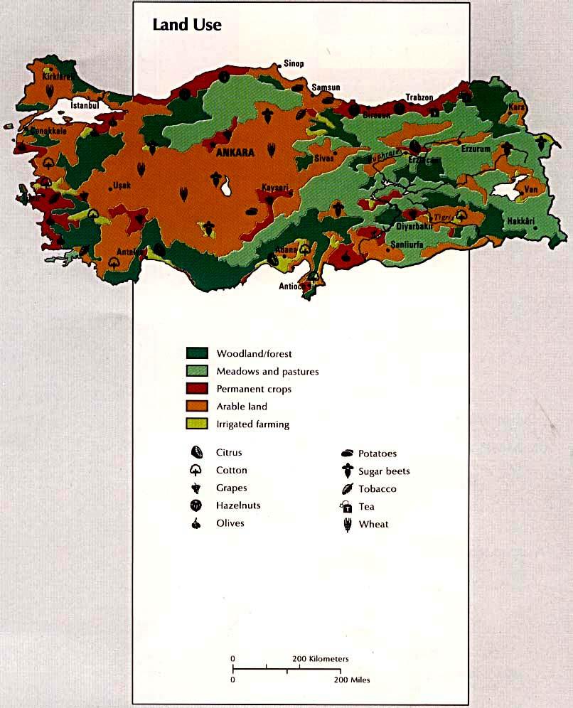 Mapa del Uso de la Tierra de Turquía