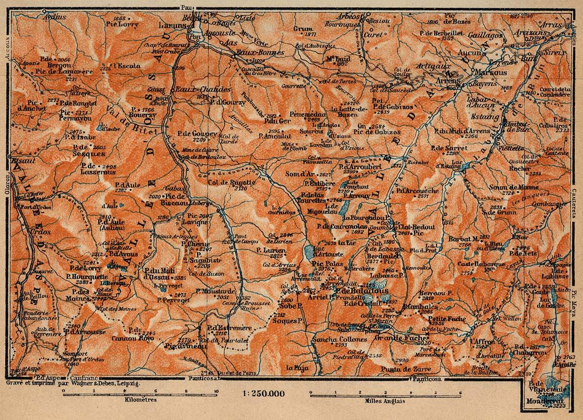 Mapa del Valle de Ossau, Francia 1914