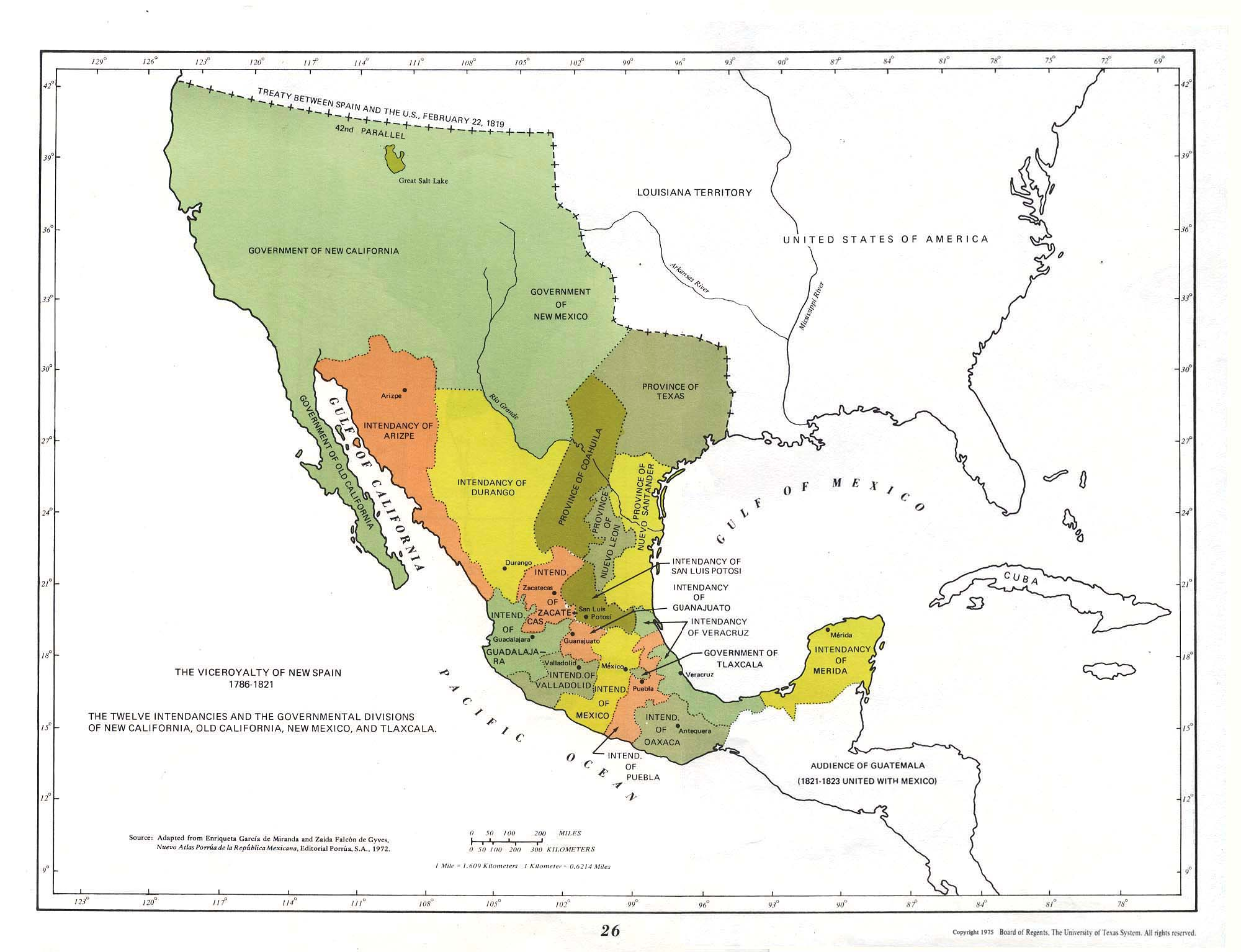 Map of The Viceroyalty of New Spain, Now Mexico 1786 - 1821