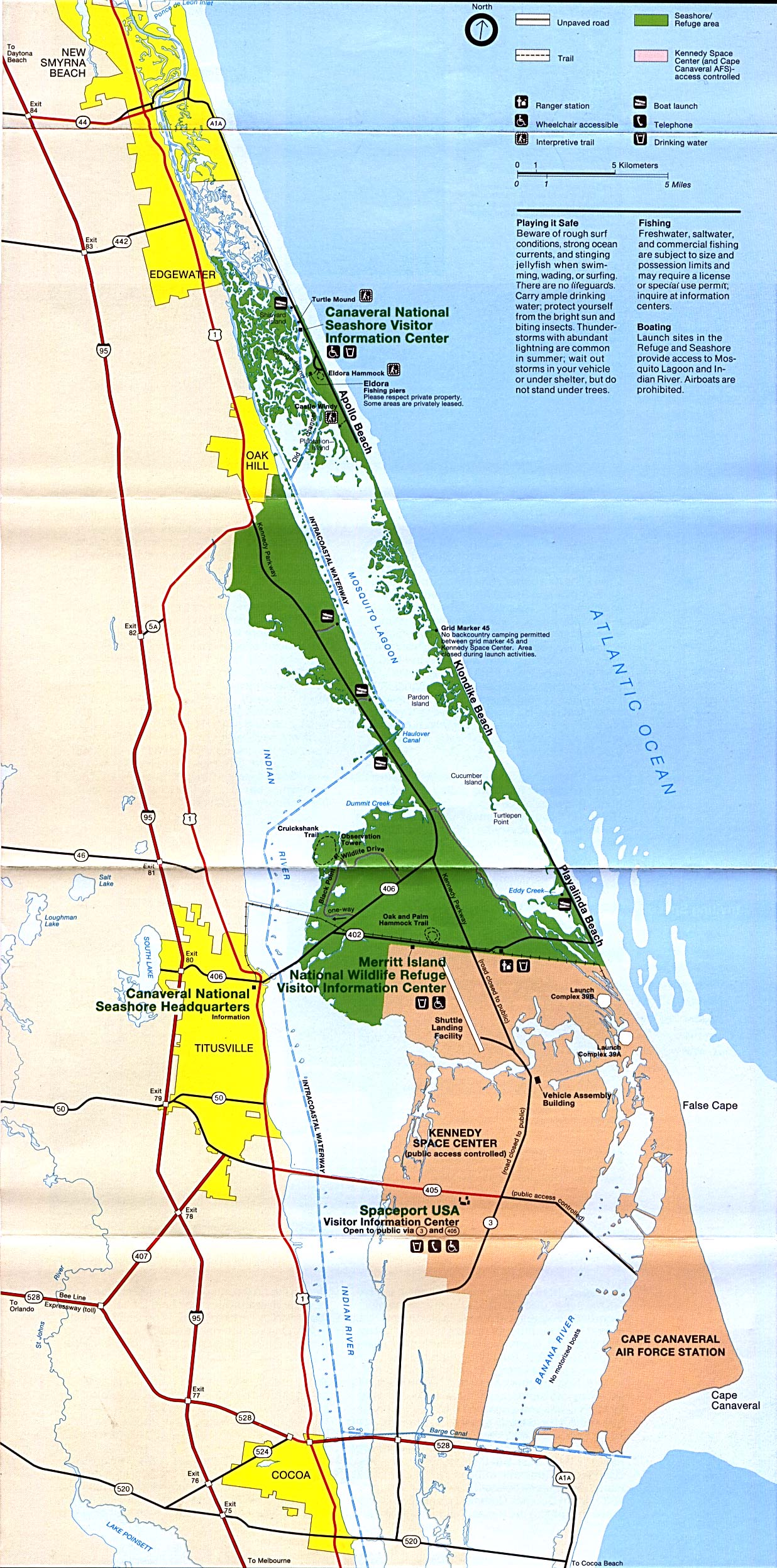 Canaveral and Merritt Island National Seashore Park Map, Florida, United States