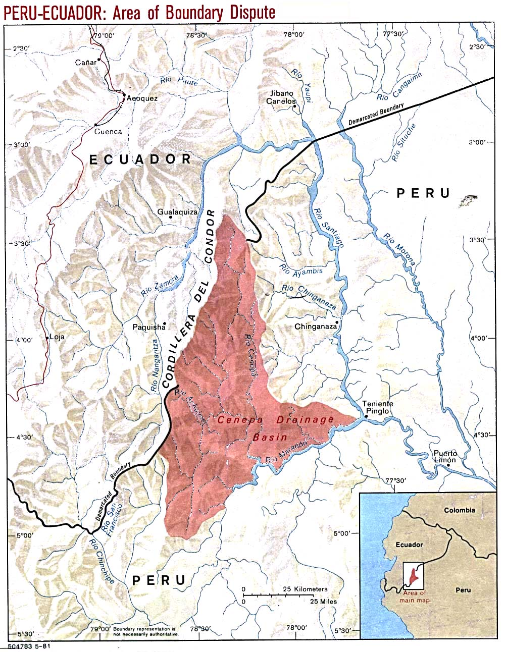 Peru - Ecuador Area of Boundary Dispute Map 1981