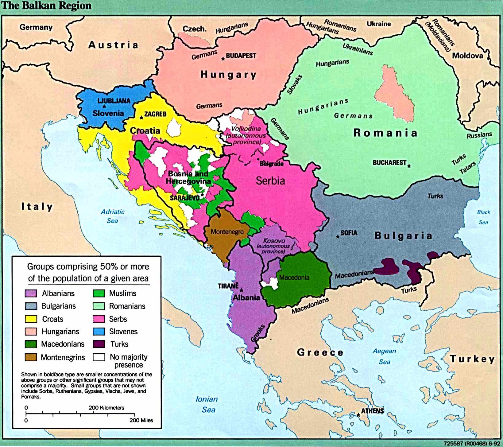 Mapa étnico de los Balcanes 1992