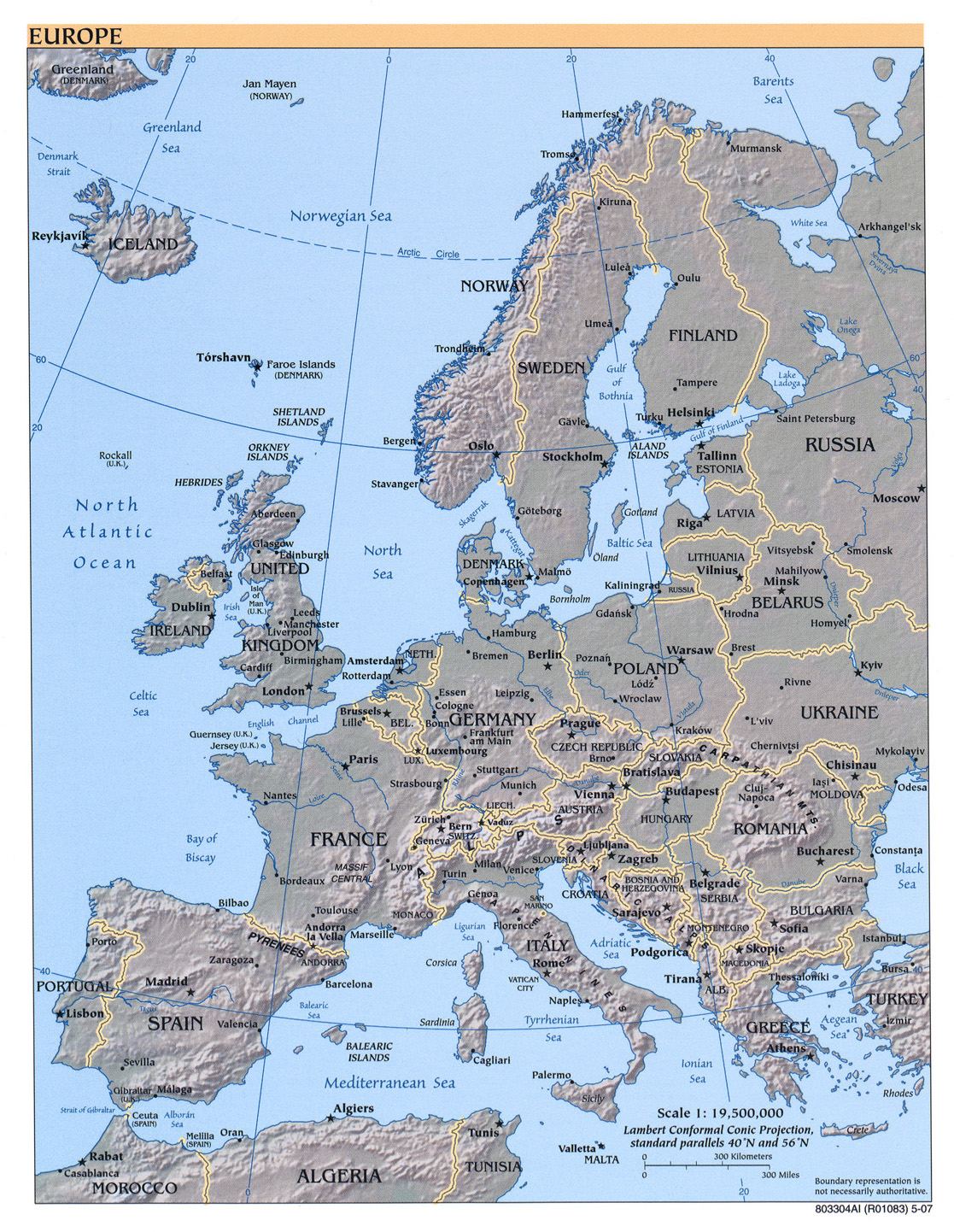 Europe physical map 2007