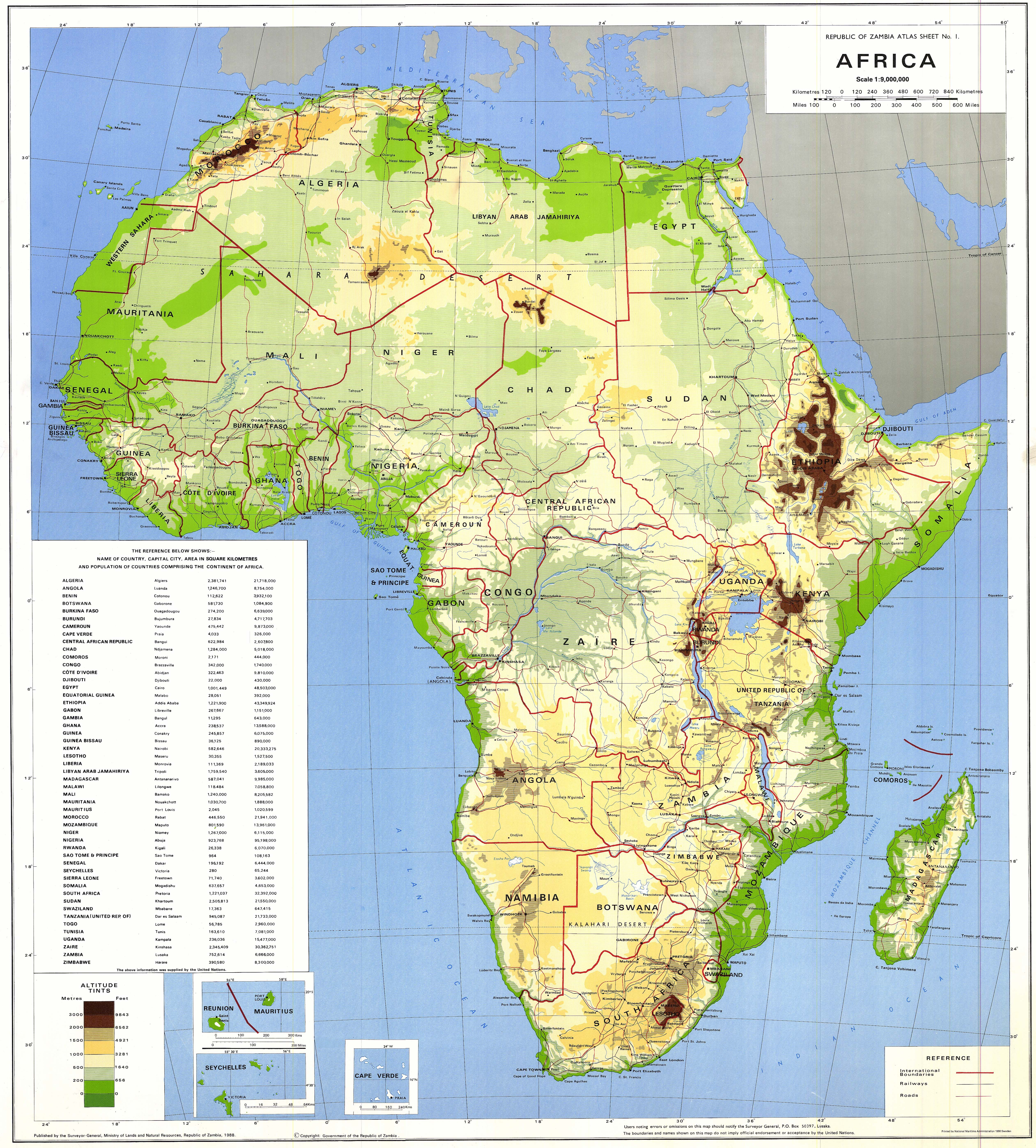 Africa physical map 1988