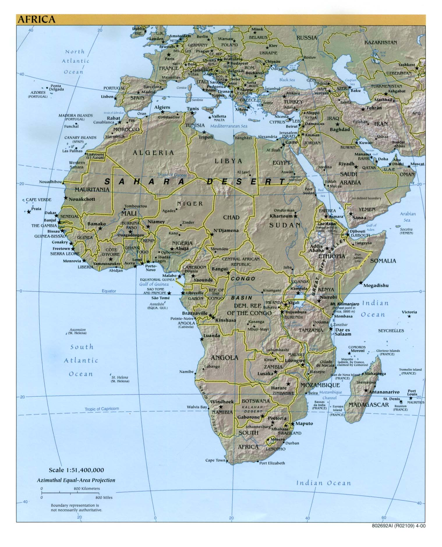 Africa physical map 2000