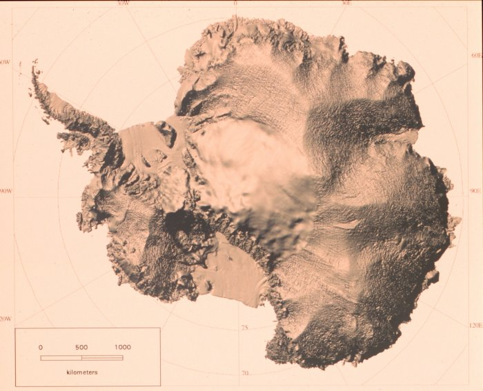 Shaded relief map of Antarctica