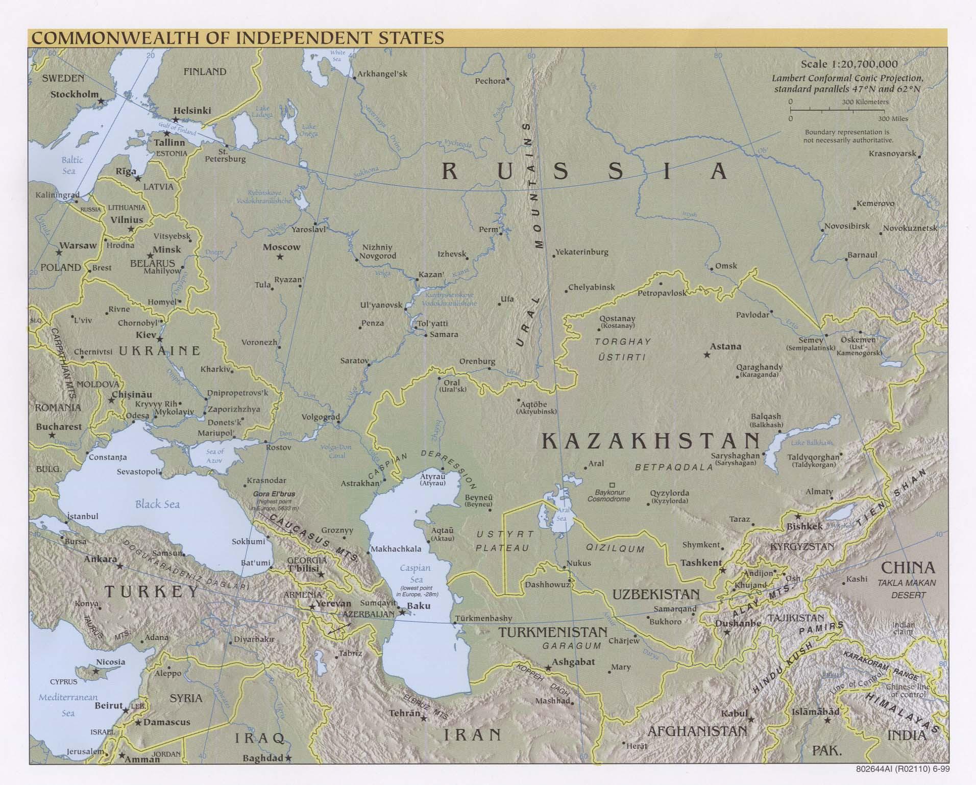 Mapa físico de la Comunidad de Estados Independientes 1999