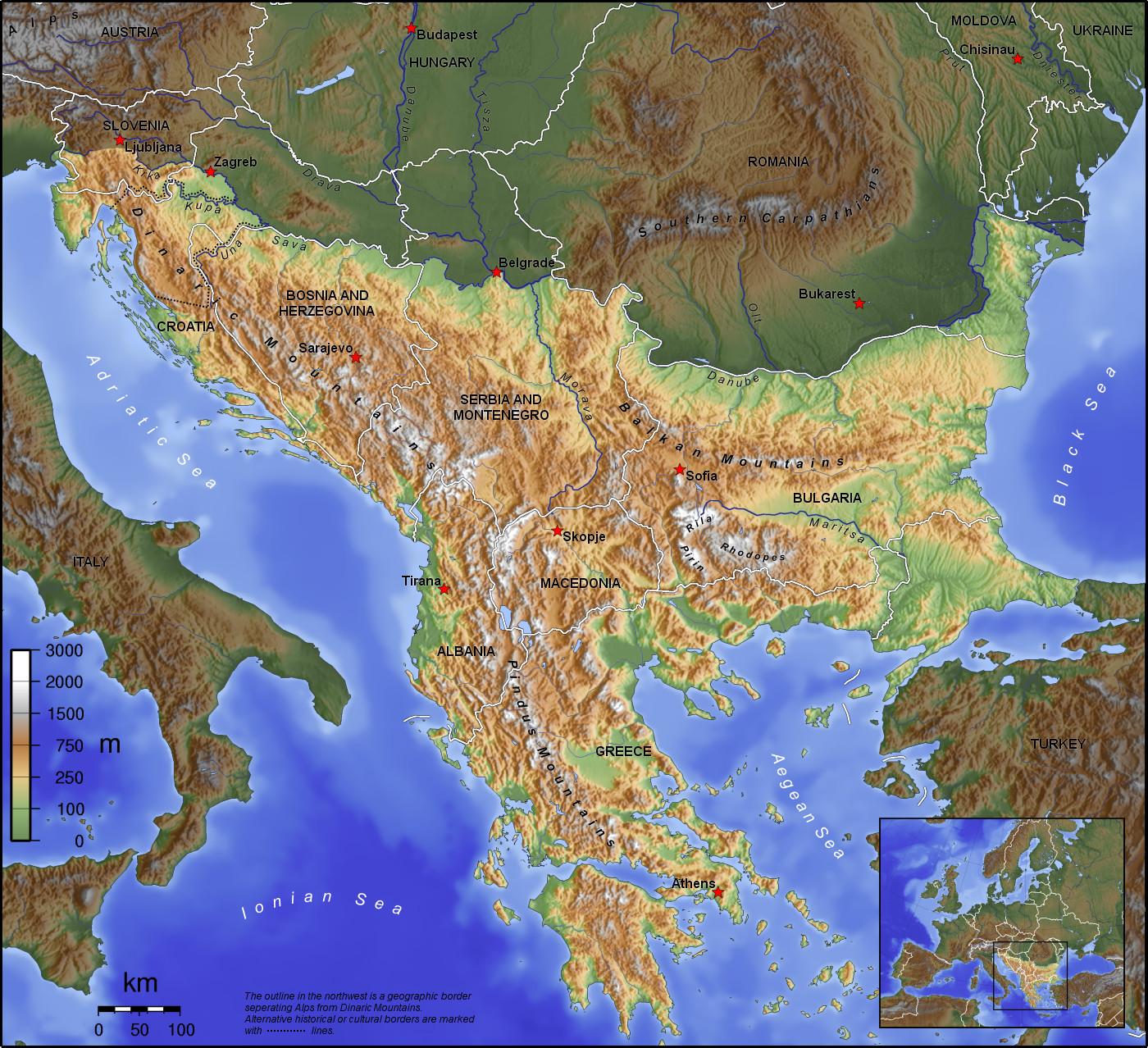 Mapa físico de los Balcanes 2006