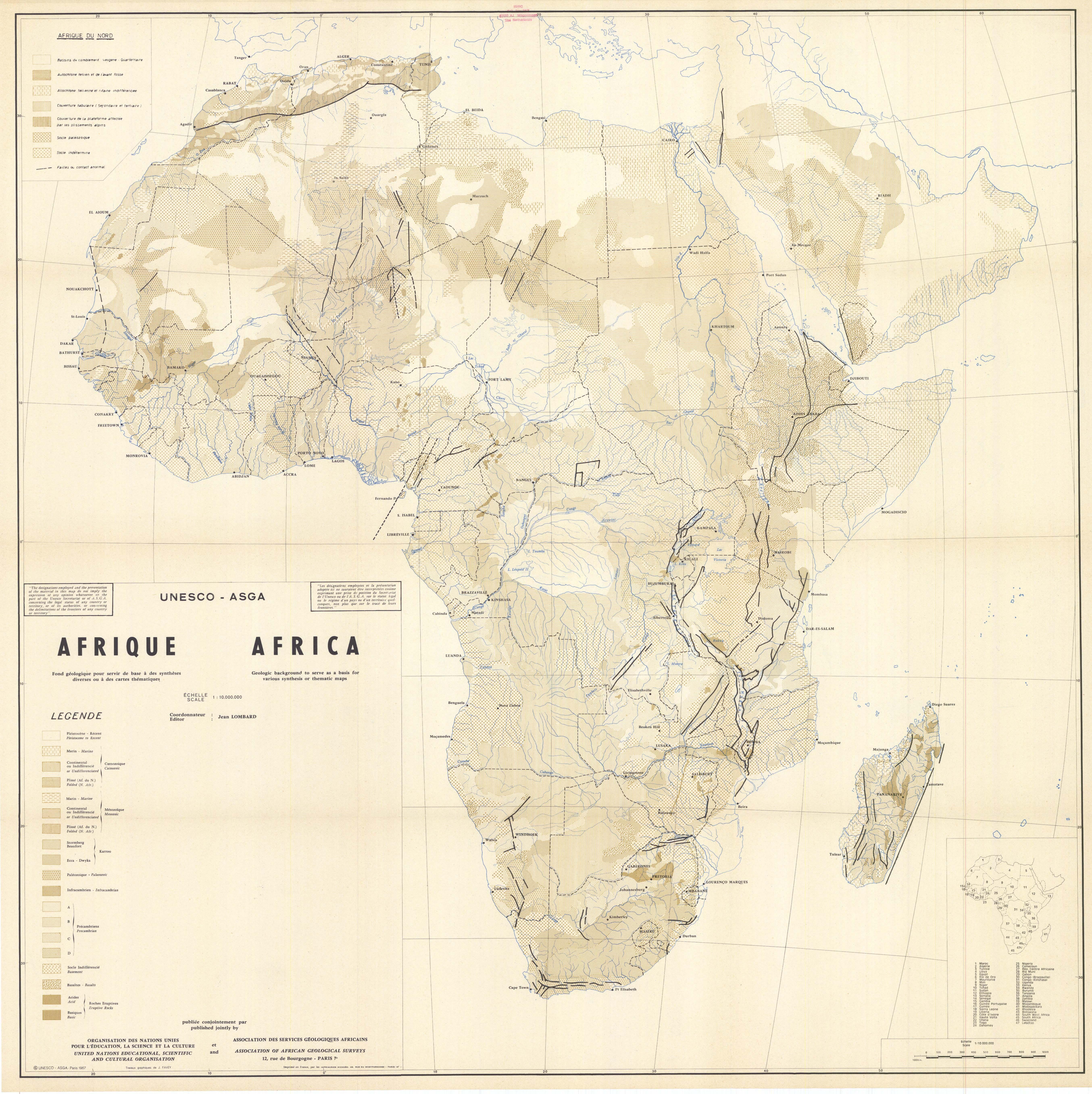Mapa geológico de África 1967