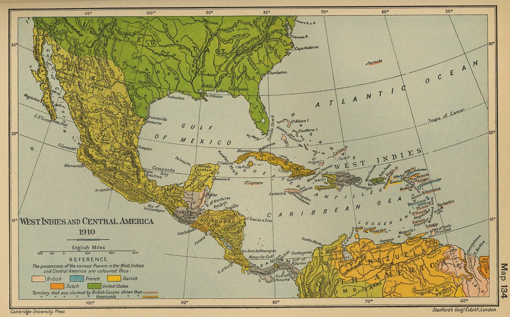 Mapa histórico de América Central y Caribe 1910
