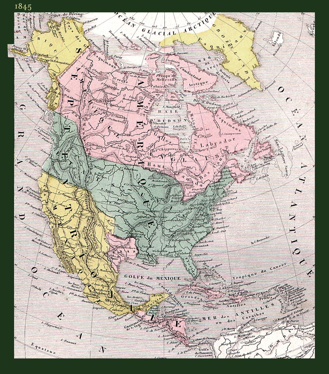 Mapa histórico de América del Norte 1845
