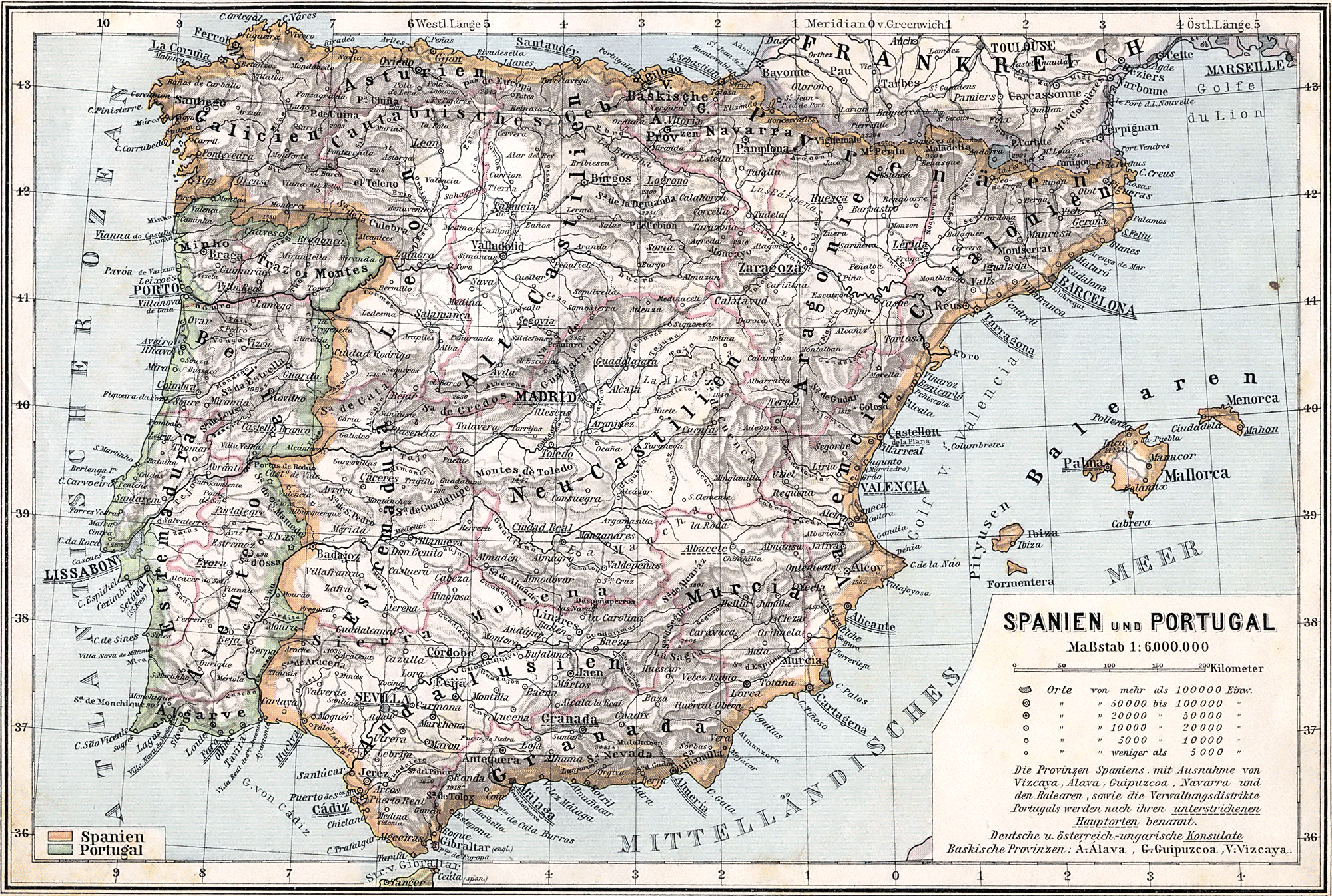 Spain and Portugal historical map 1905