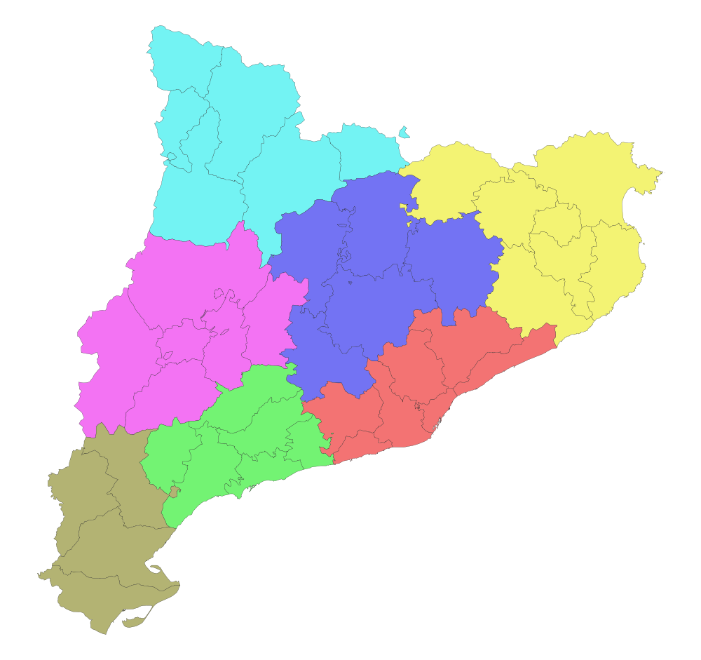 Color blank map of Catalonia