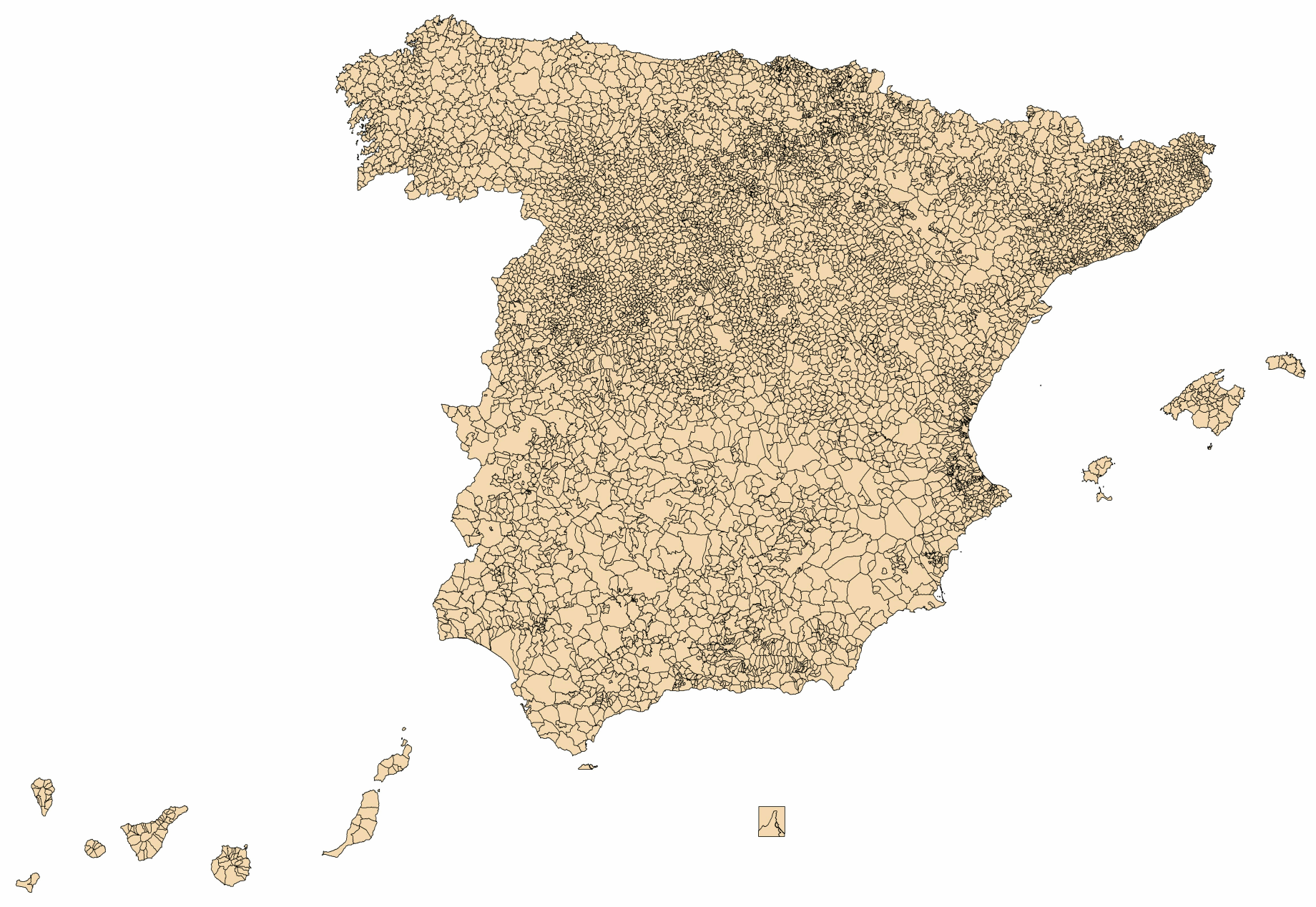 Spain municipalities blank map 2003