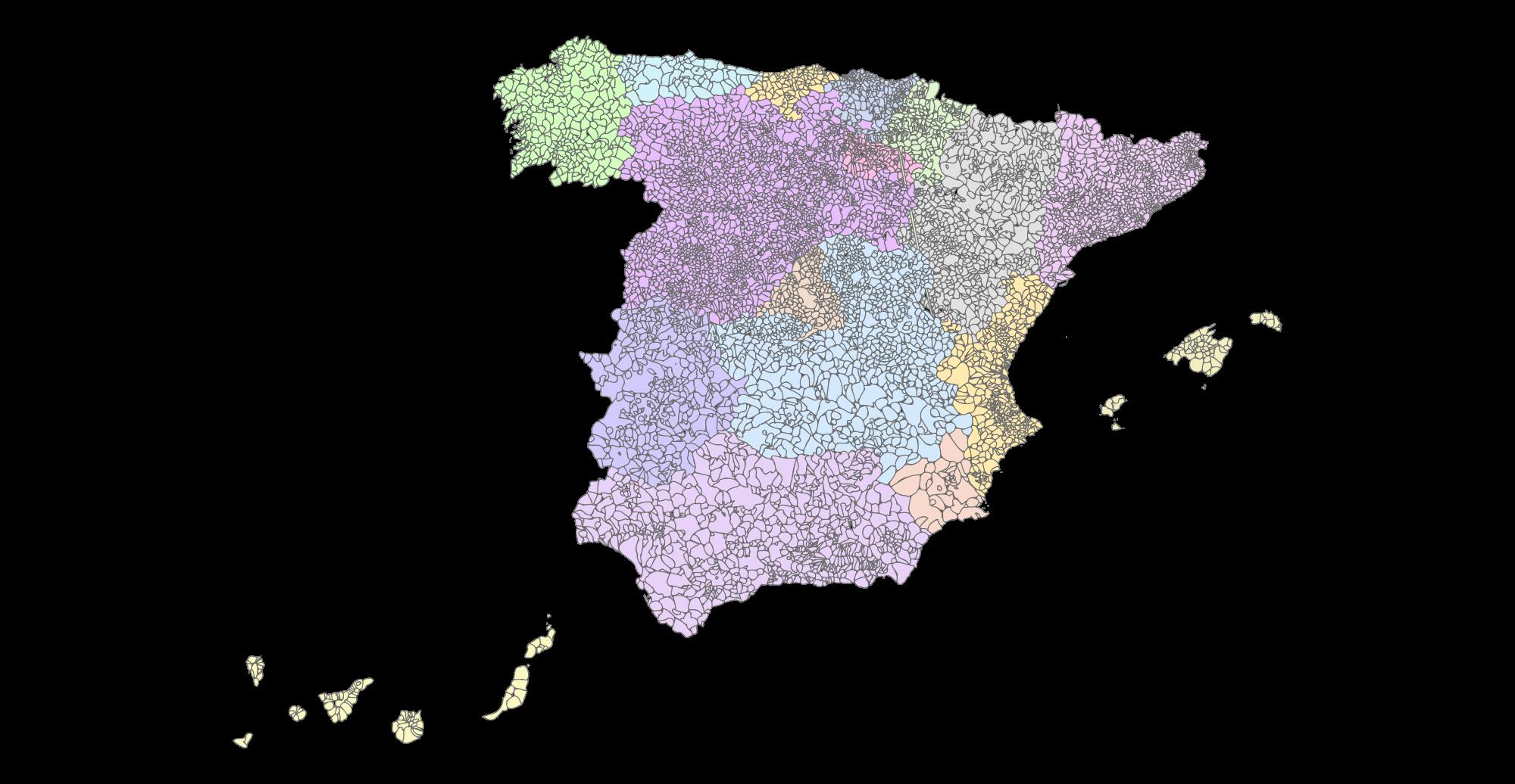 Mapa municipal mudo de España 2004