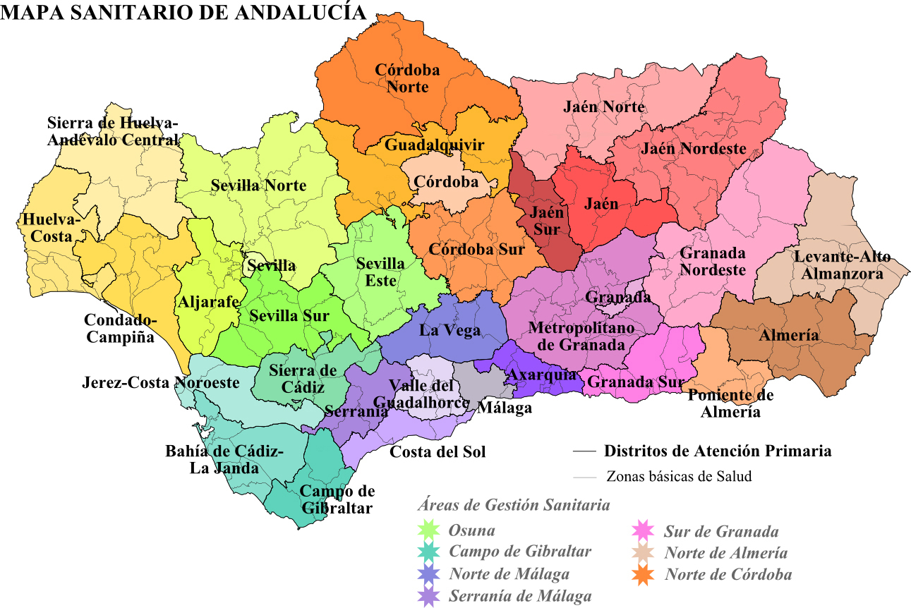 Healthcare districts of Andalusia 2008