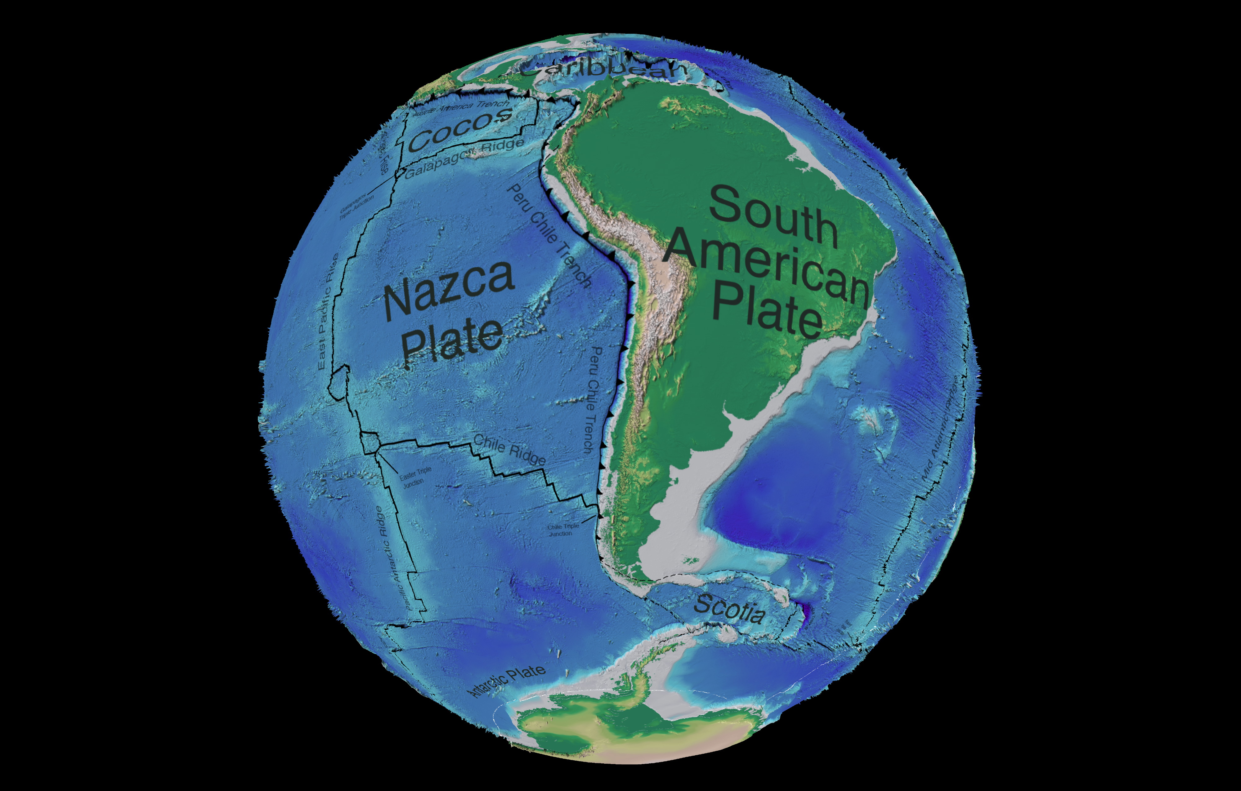 South America tectonic and bathymetric map