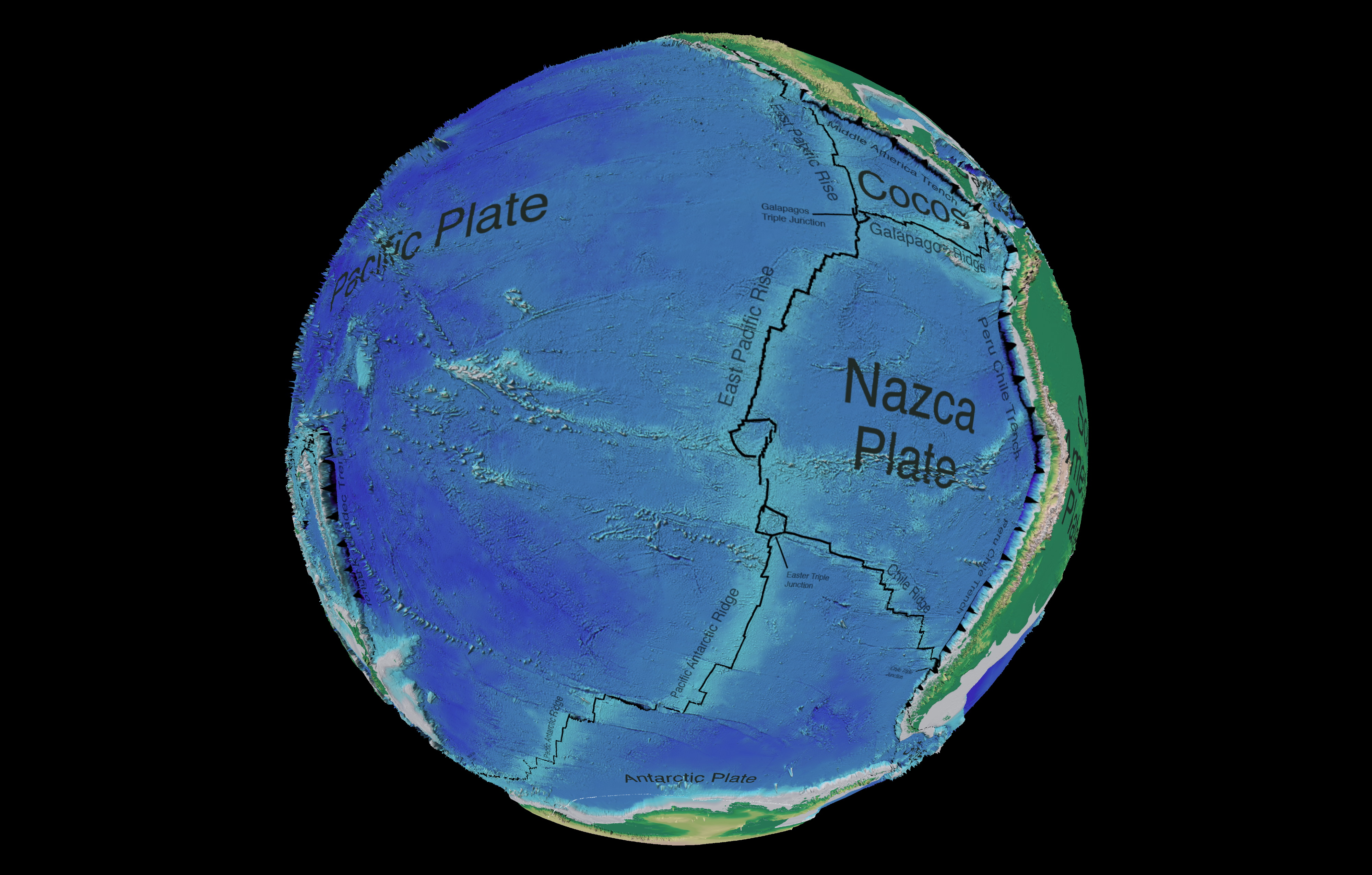 South Pacific Ocean tectonic and bathymetric map