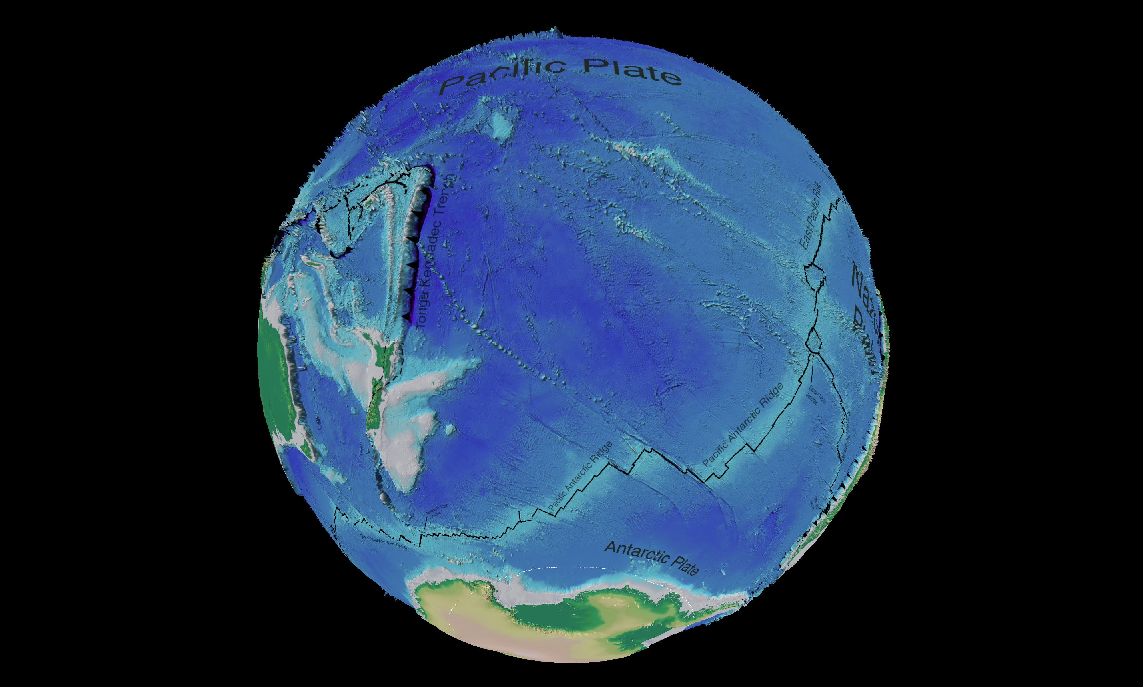 Mapa tectónico y batimétrico del Océano Pacífico Suroeste