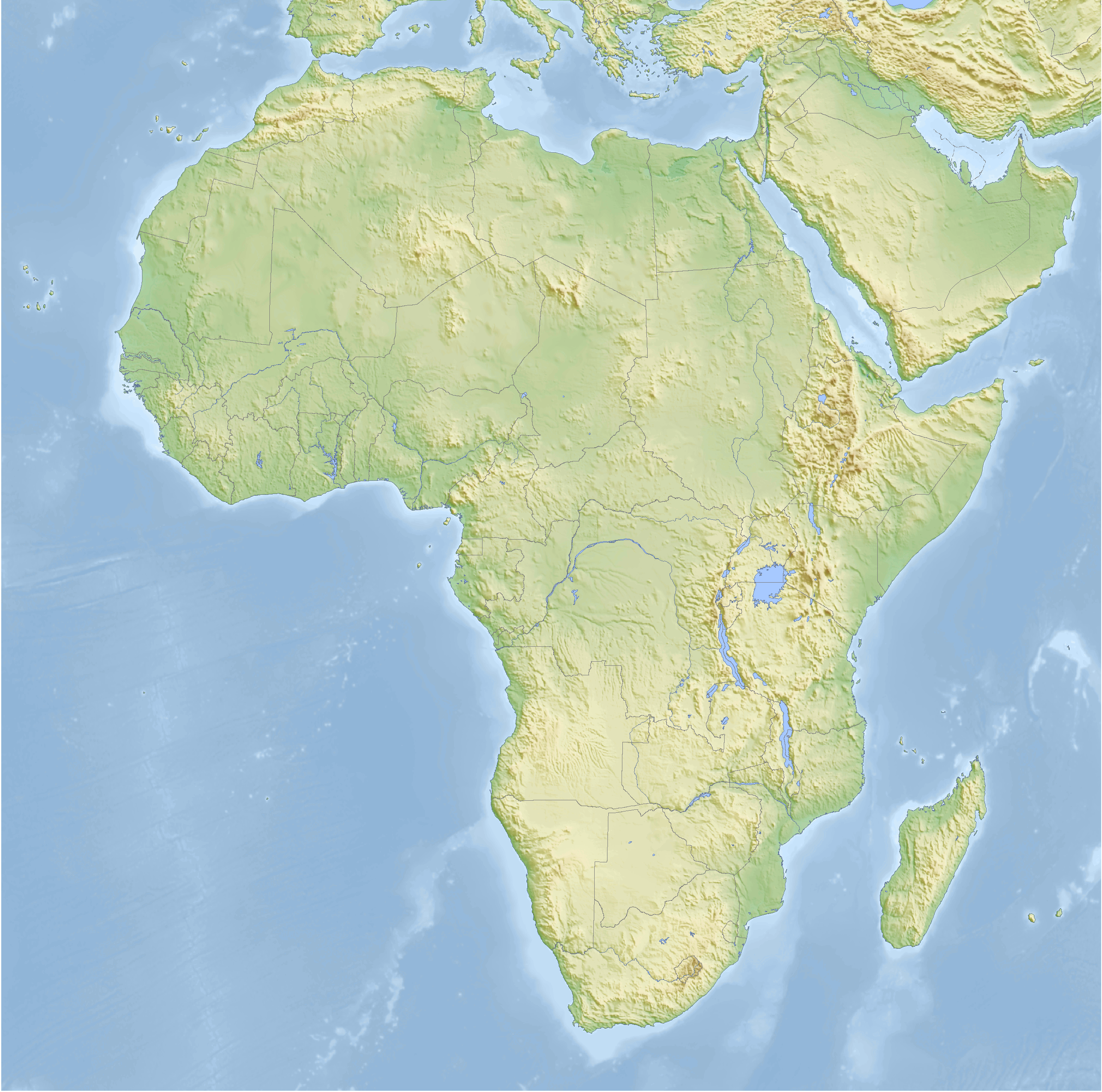 Topographic map of Africa 2008