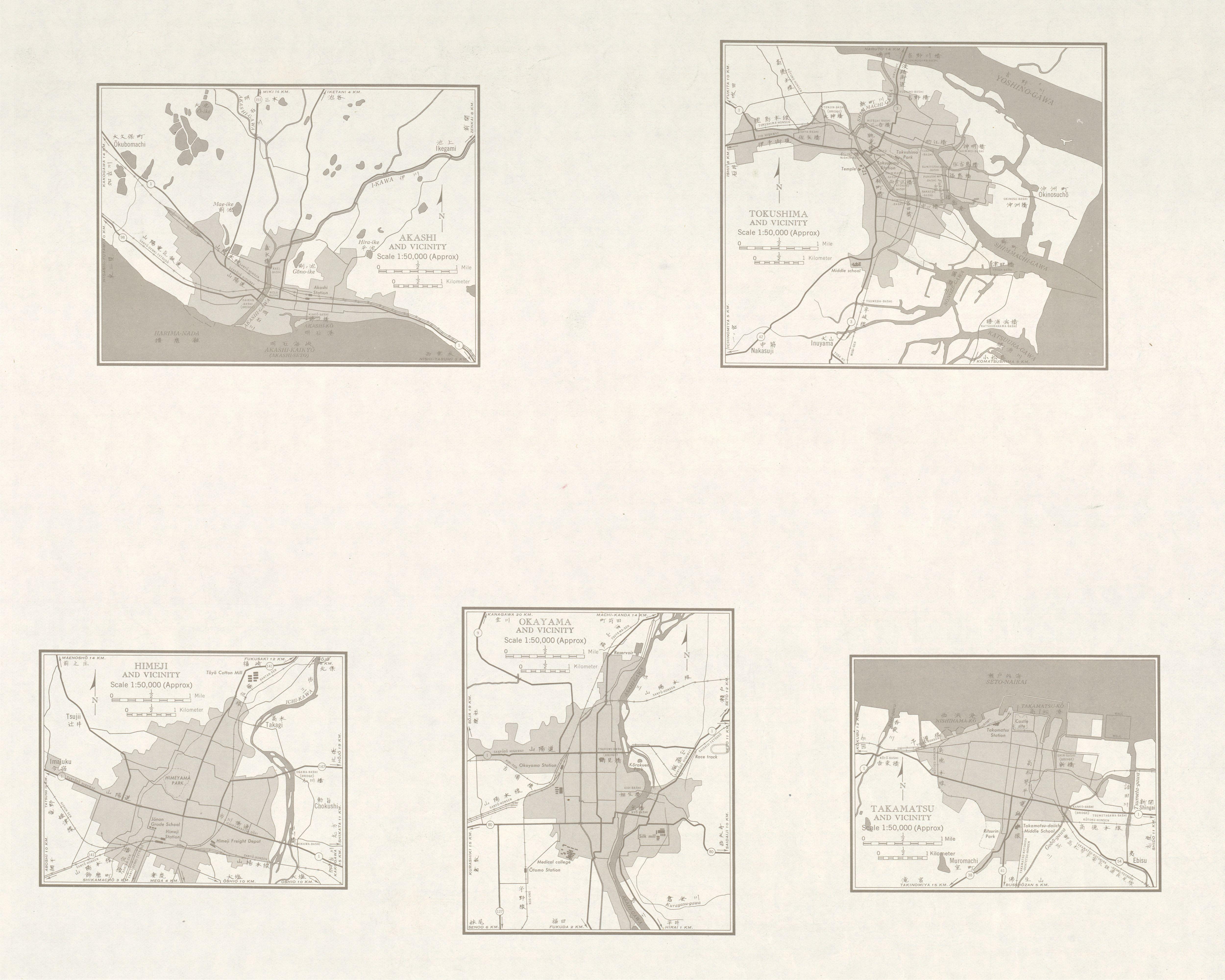 Mapas de Akashi, Tokushima, Himeji y sus Cercanias, Japón 1954