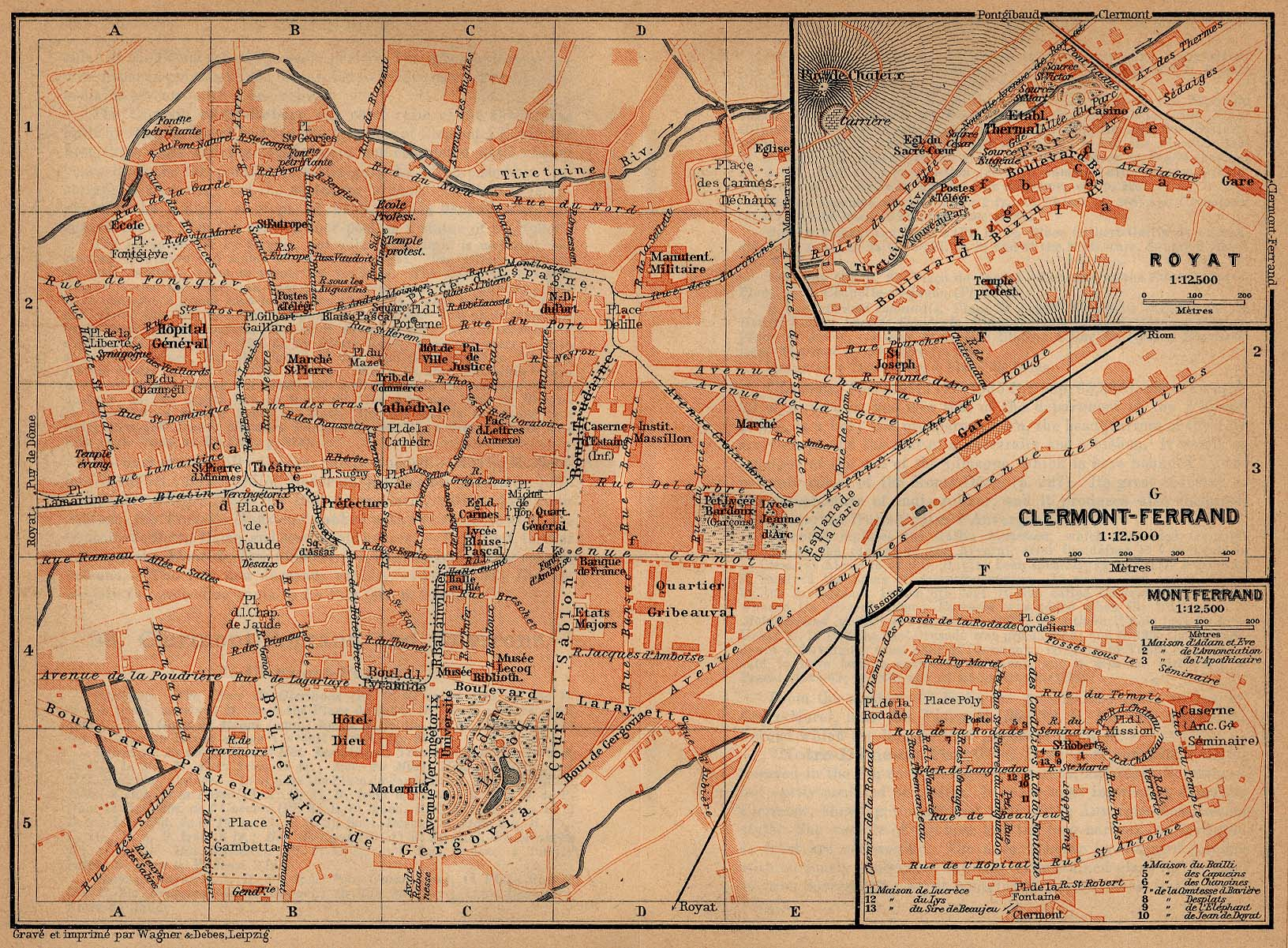 Maps of Clermont-Ferrand, Montferrand and Royat, France 1914