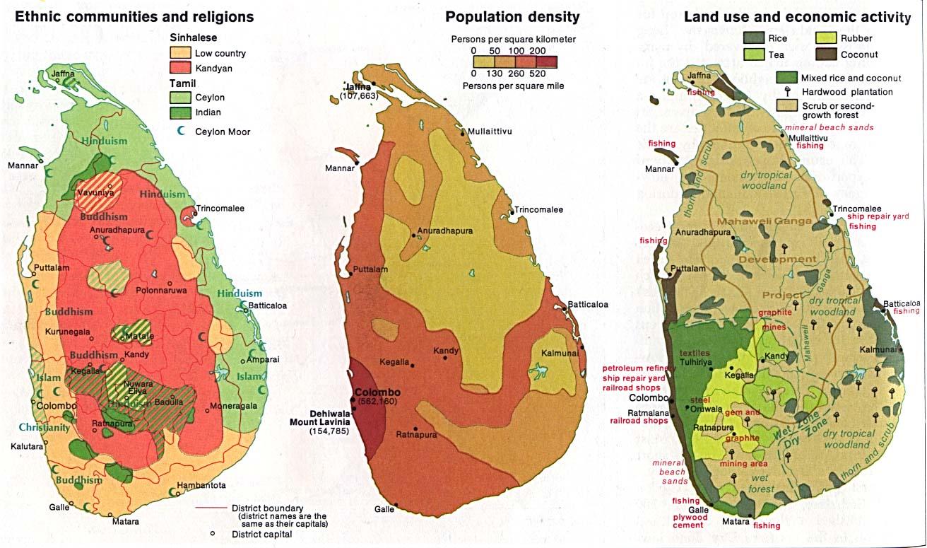 Mapas de Comunidades Étnicas y Religiones, Densidad de Población, Uso de la Tierra y de la Actividad Económica de Sri Lanka