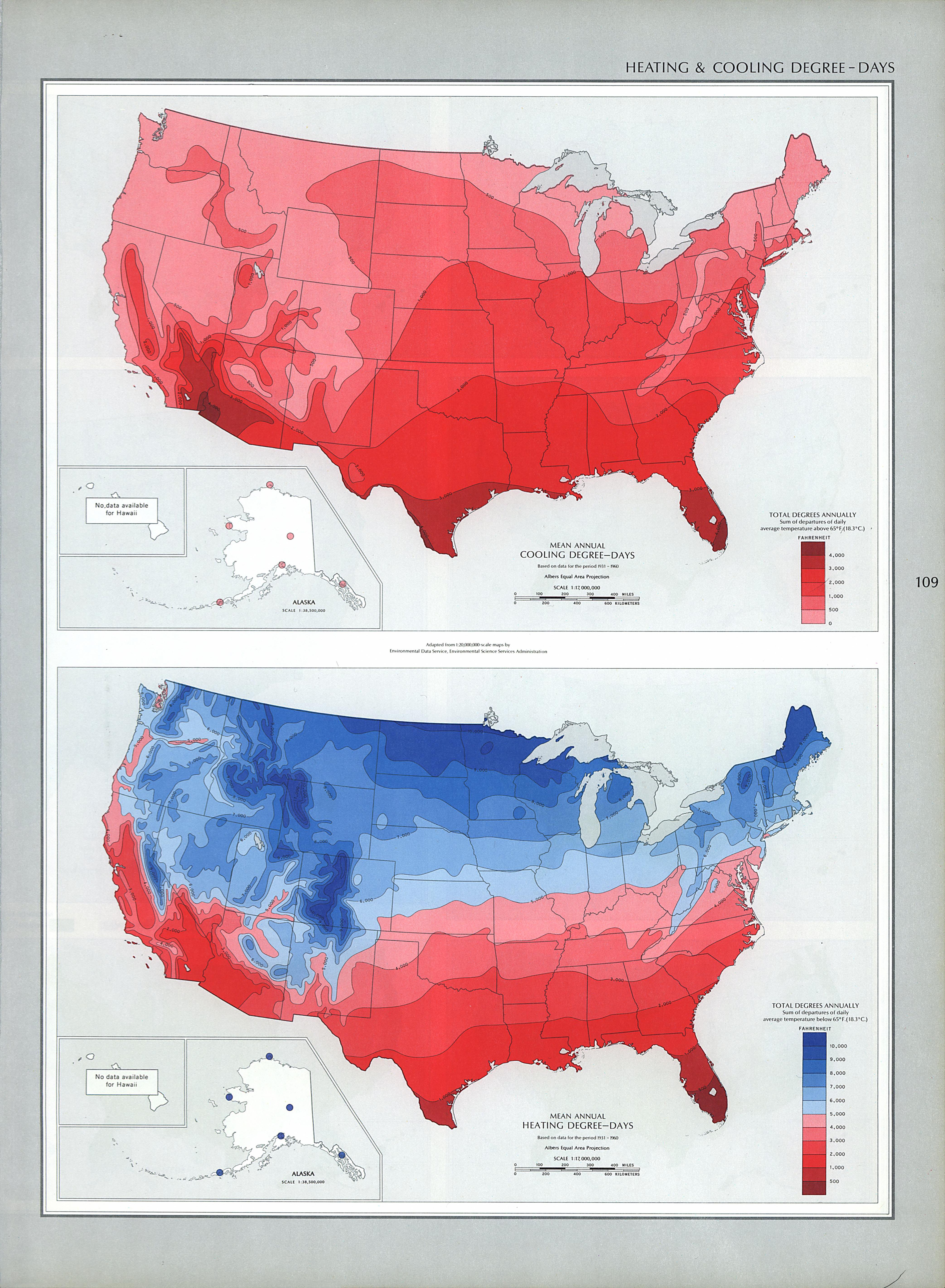 Mapas de Grados-Día de Calentamiento y Enfriamiento en Estados Unidos
