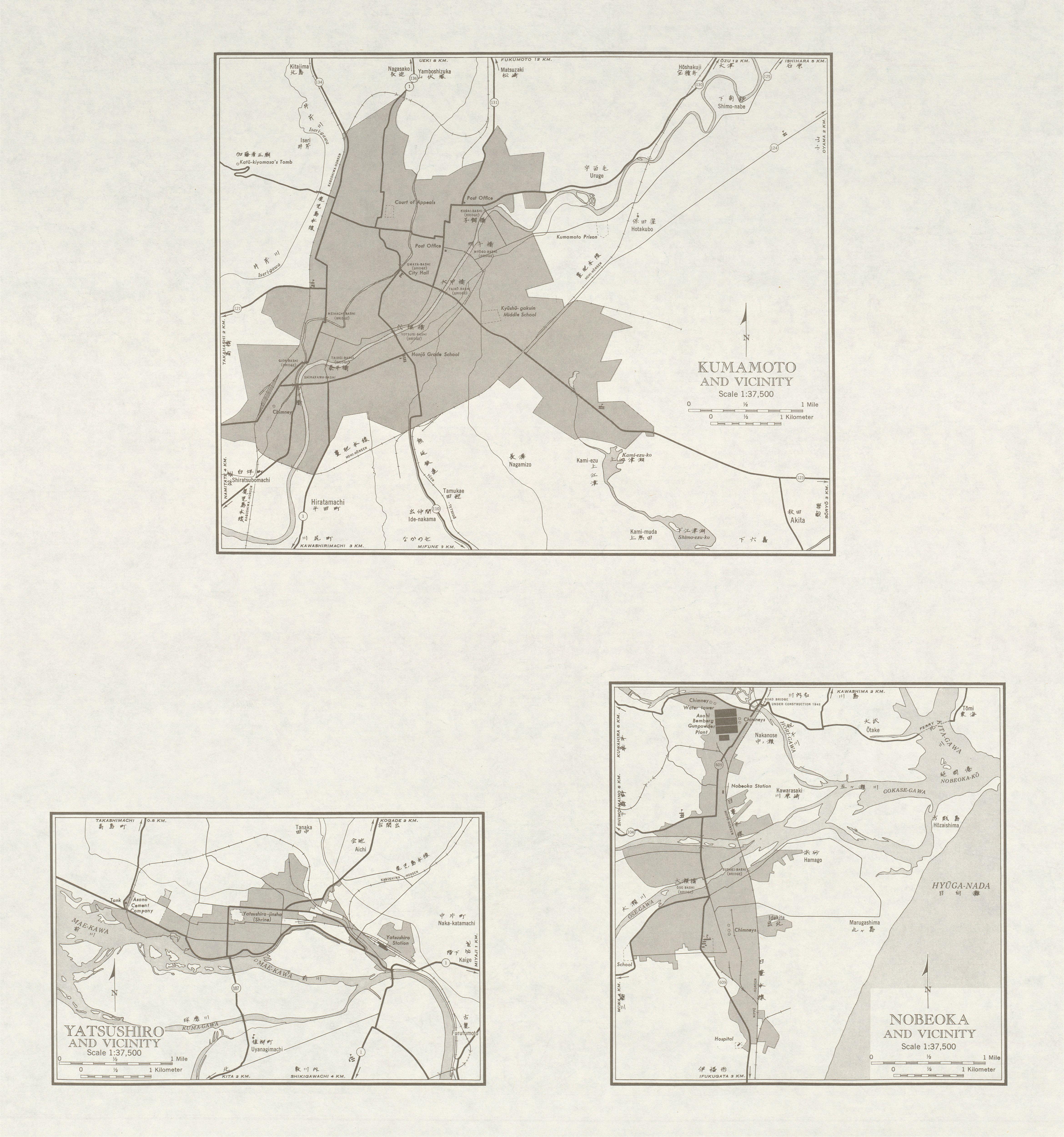 Mapas de Kumamoto, Yatsushiro, Nobeoka y sus Cercanias, Japón 1954