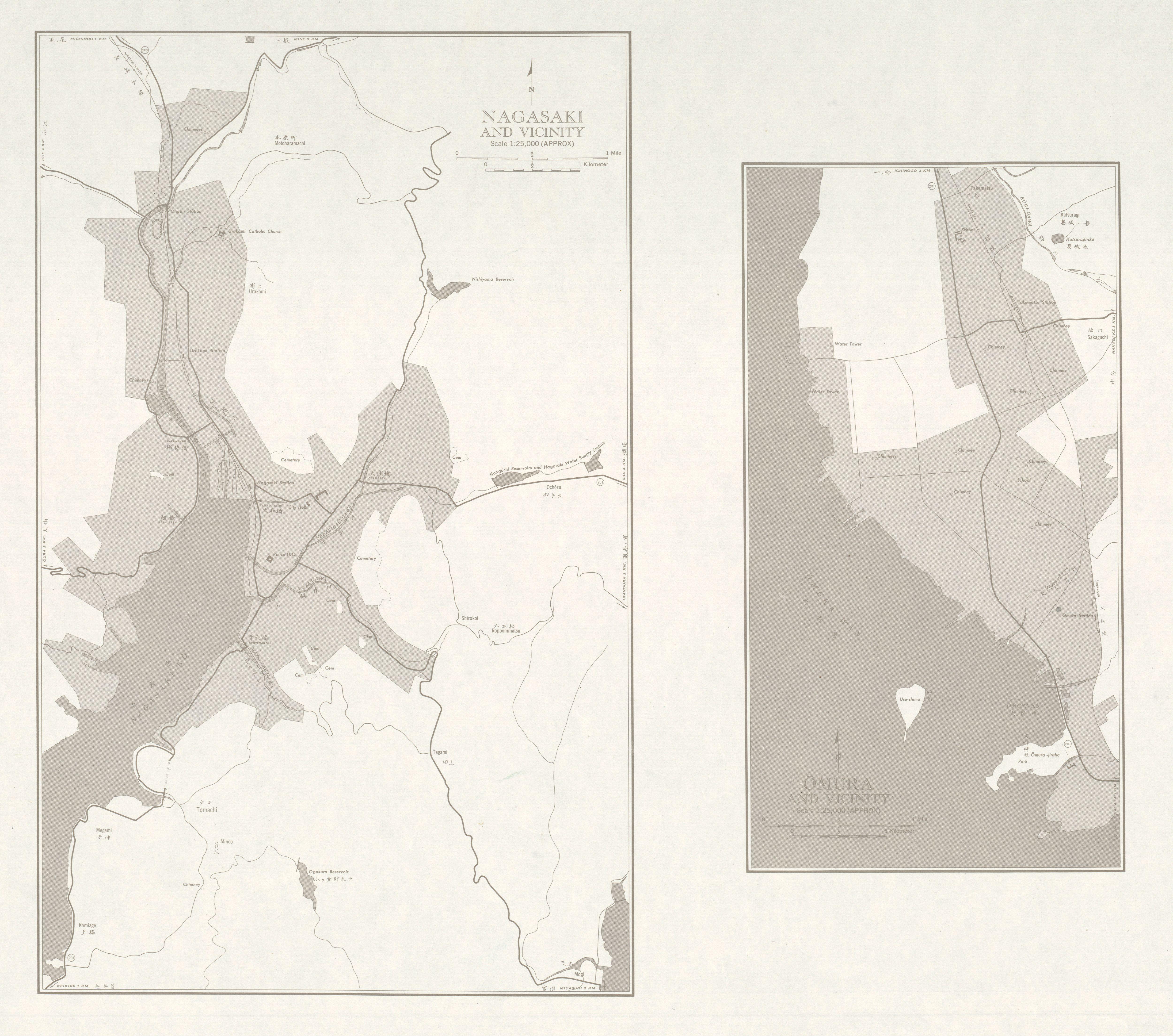 Mapas de Nagasaki, Omura y sus Cercanias, Japón 1954