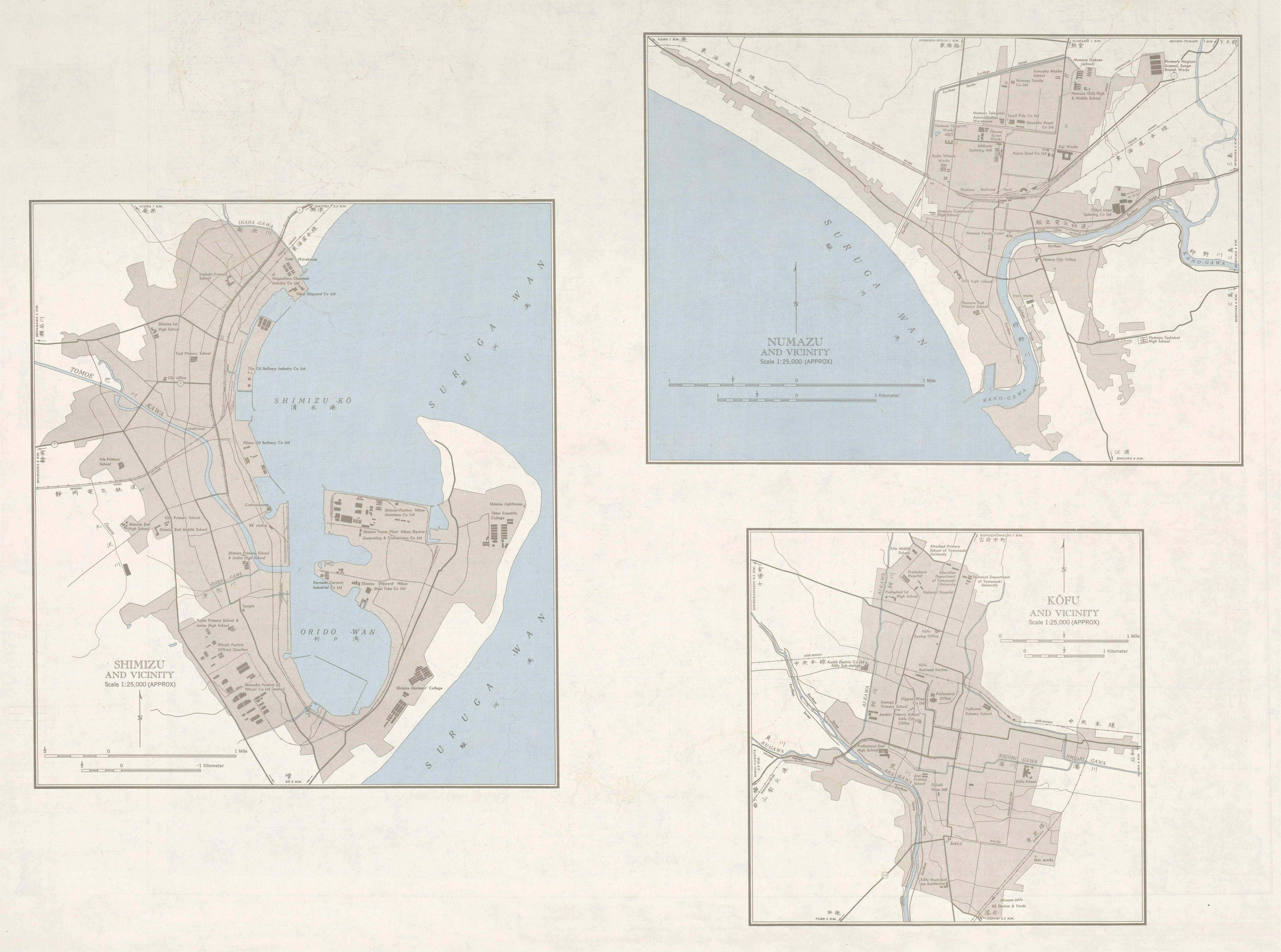 Mapas de Shimizu, Numazu, Kofu y sus Cercanias, Japón 1954