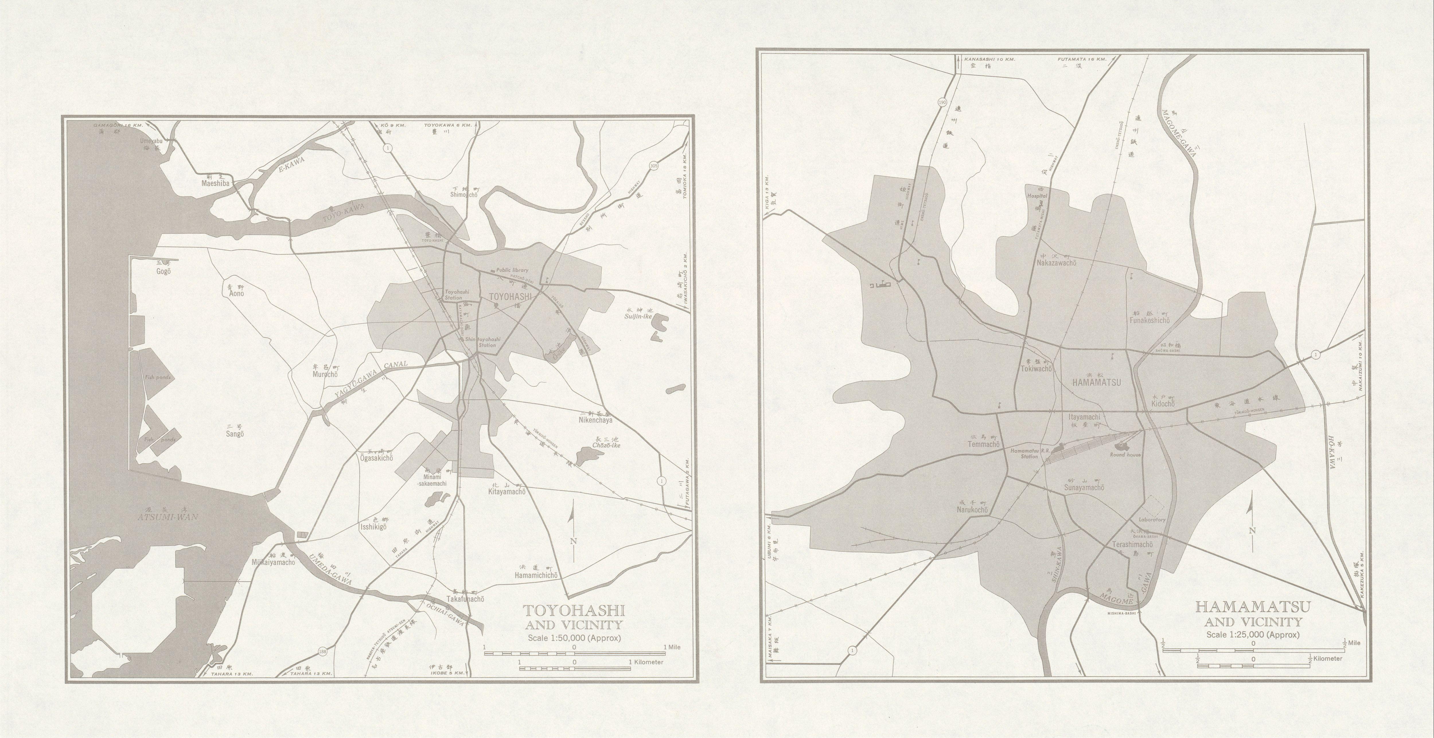 Mapas de Toyohashi, Hamamatsu y sus Cercanias, Japón 1954