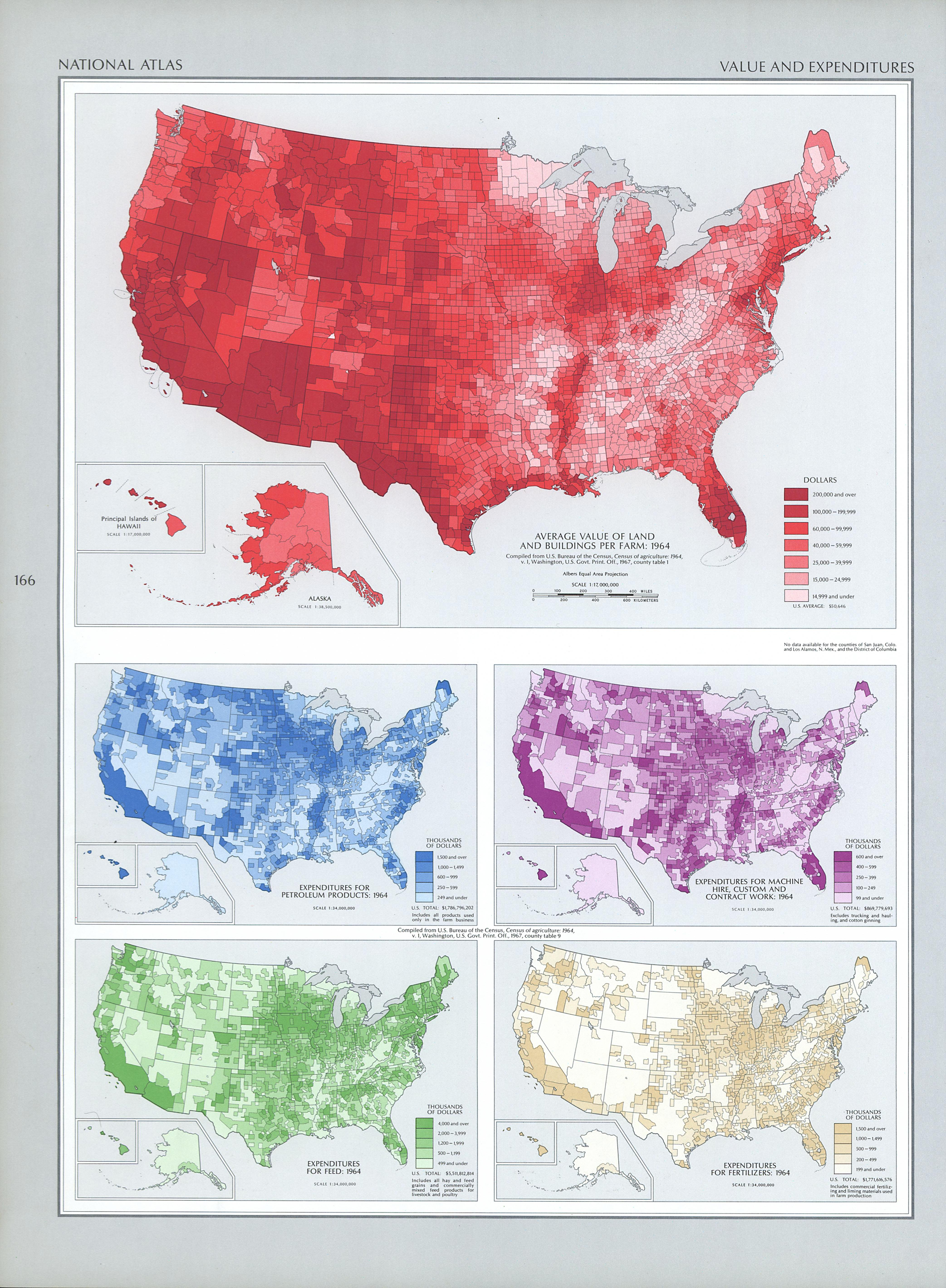United States Value and Expenditures per Farm Map